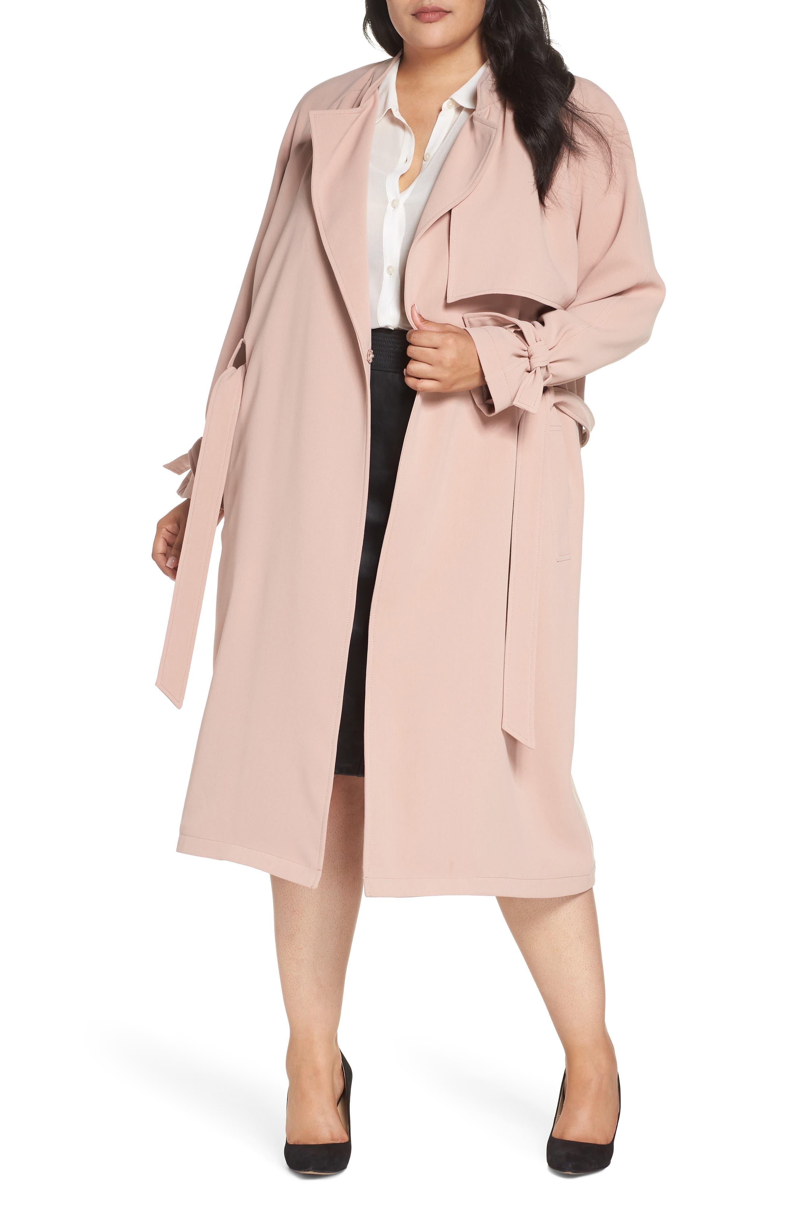 Crepe Trench Coat,                         Main,                         color, DEEP BLUSH