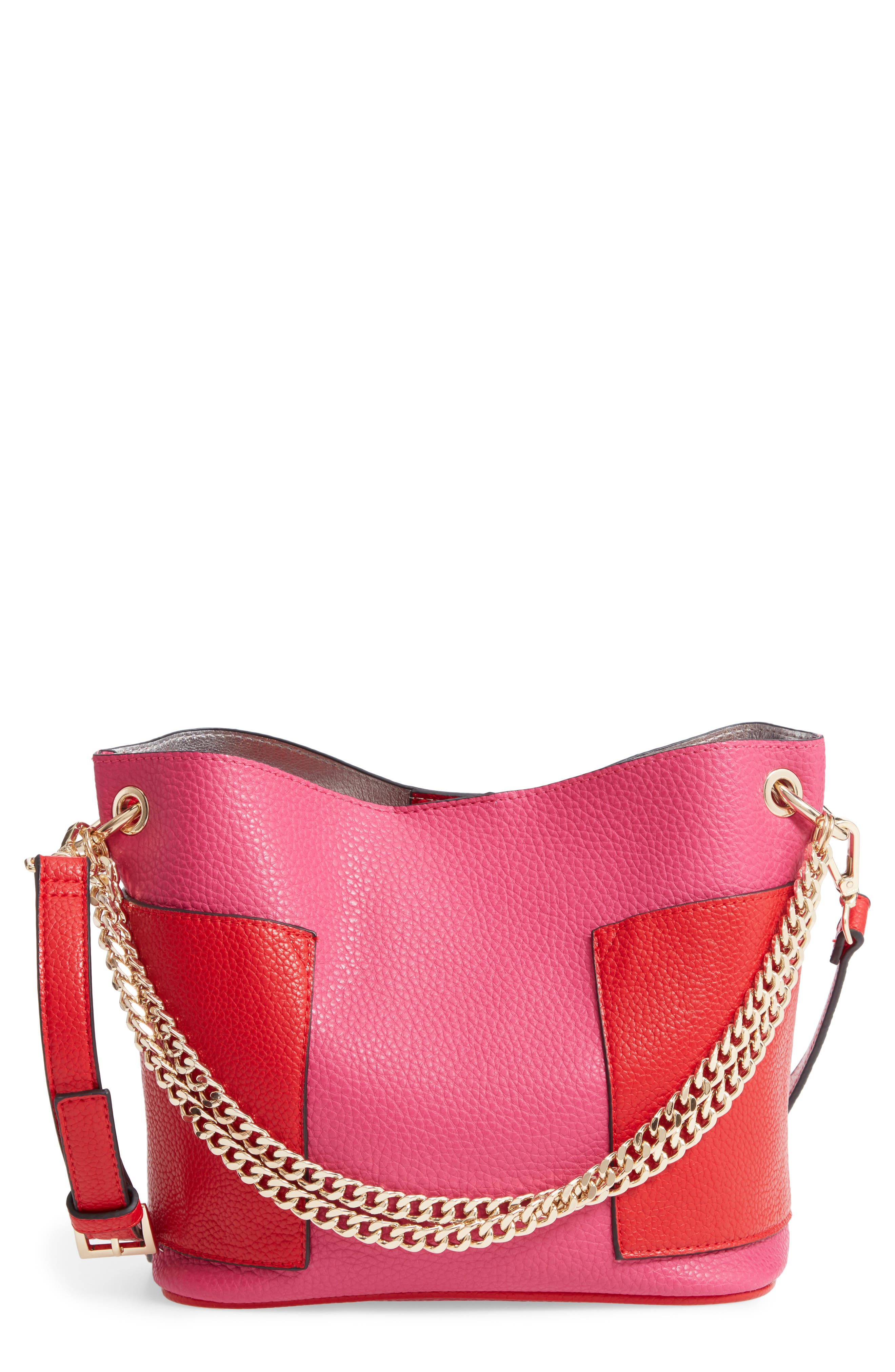 Bettie Faux Leather Bucket Bag,                             Main thumbnail 1, color,                             PINK/ MULTI