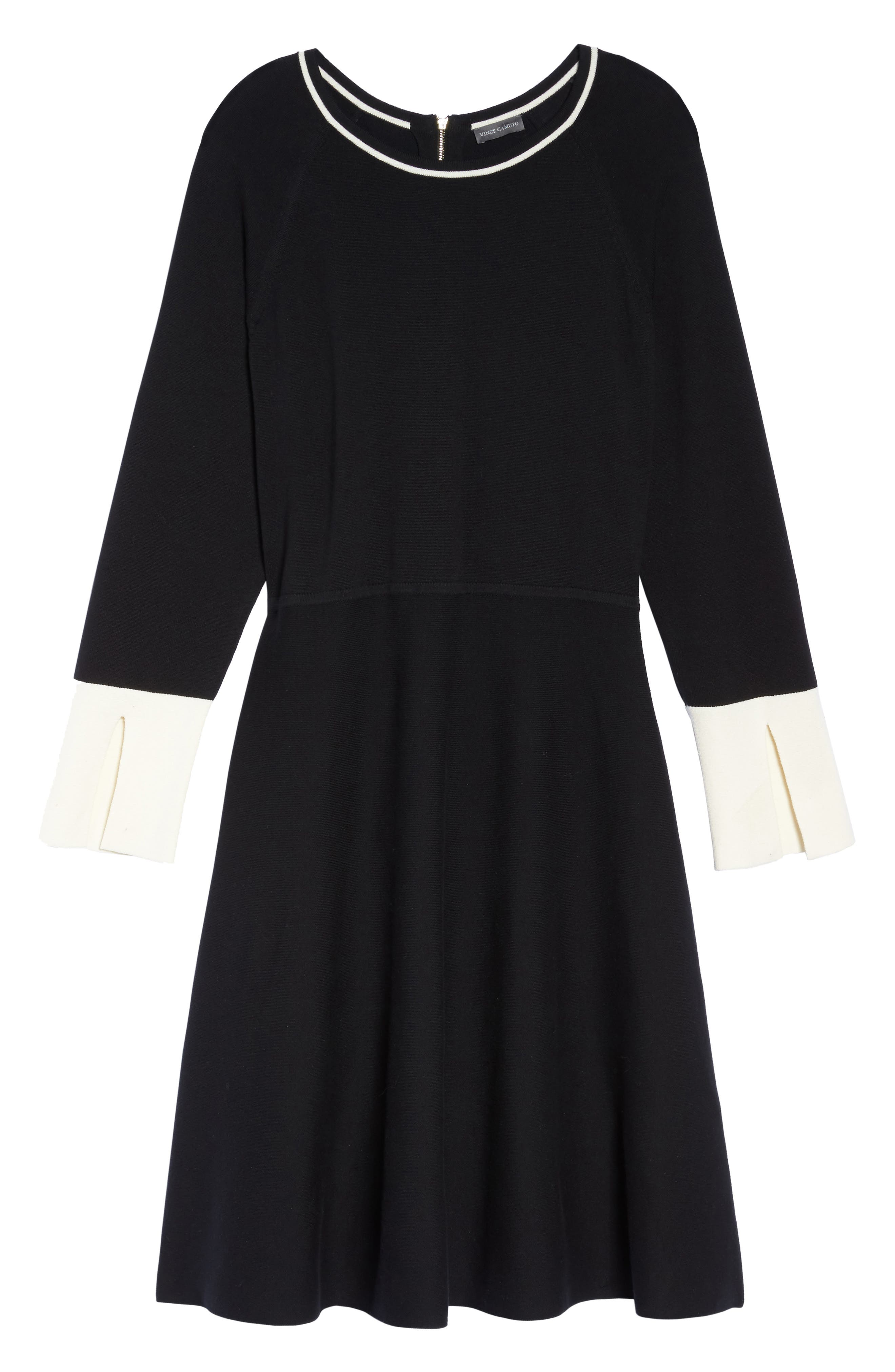 Fit & Flare Sweater Dress,                             Alternate thumbnail 6, color,                             019
