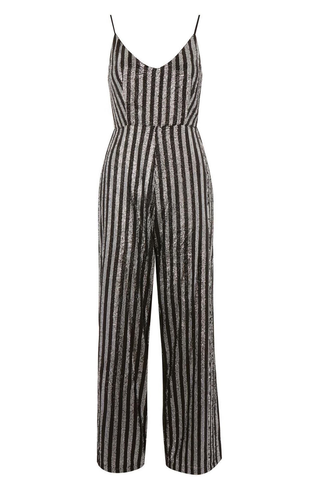 Sequin Stripe Jumpsuit,                             Alternate thumbnail 4, color,