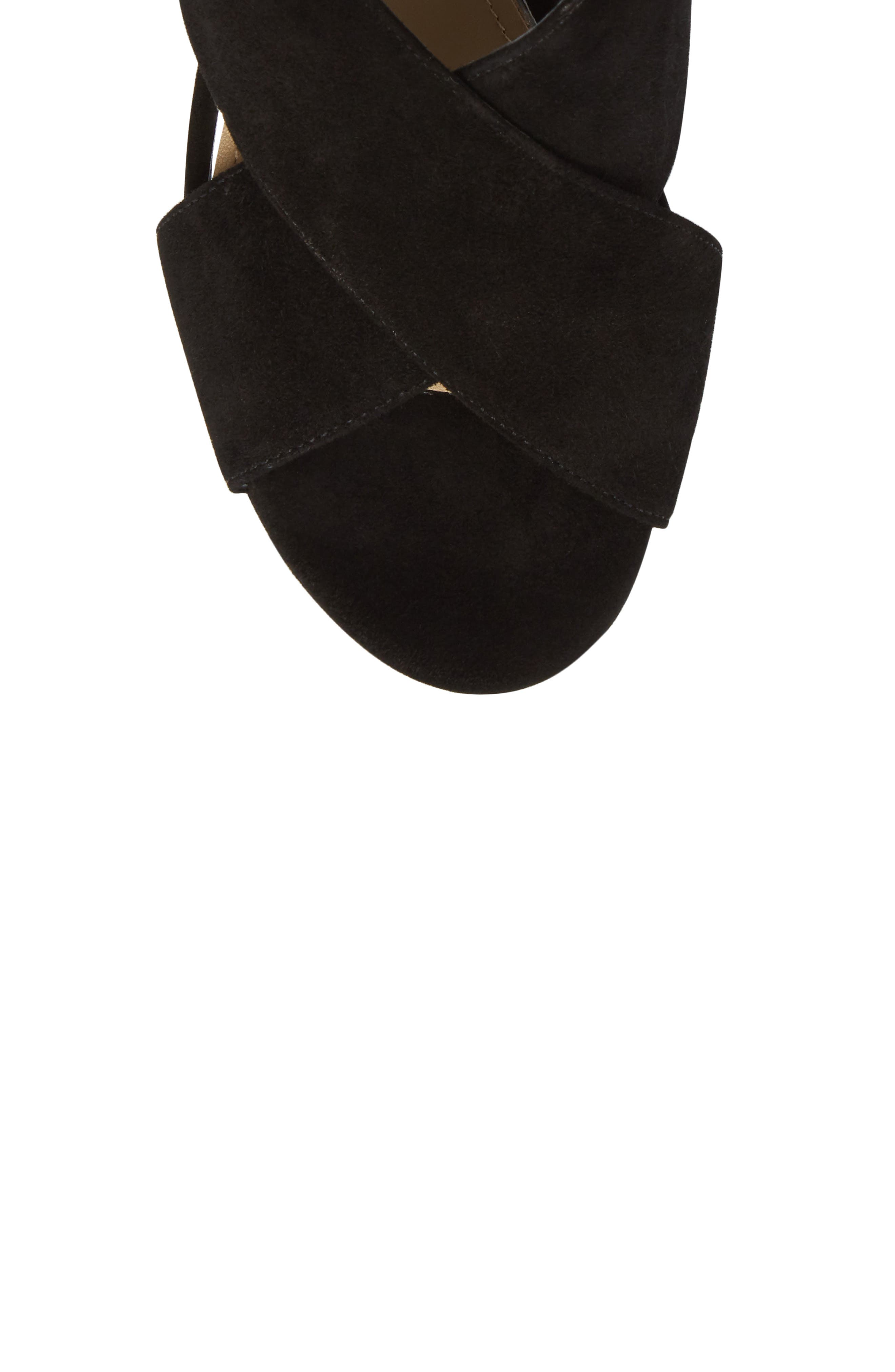 Dominica Platform Wedge Sandal,                             Alternate thumbnail 5, color,                             BLACK SUEDE