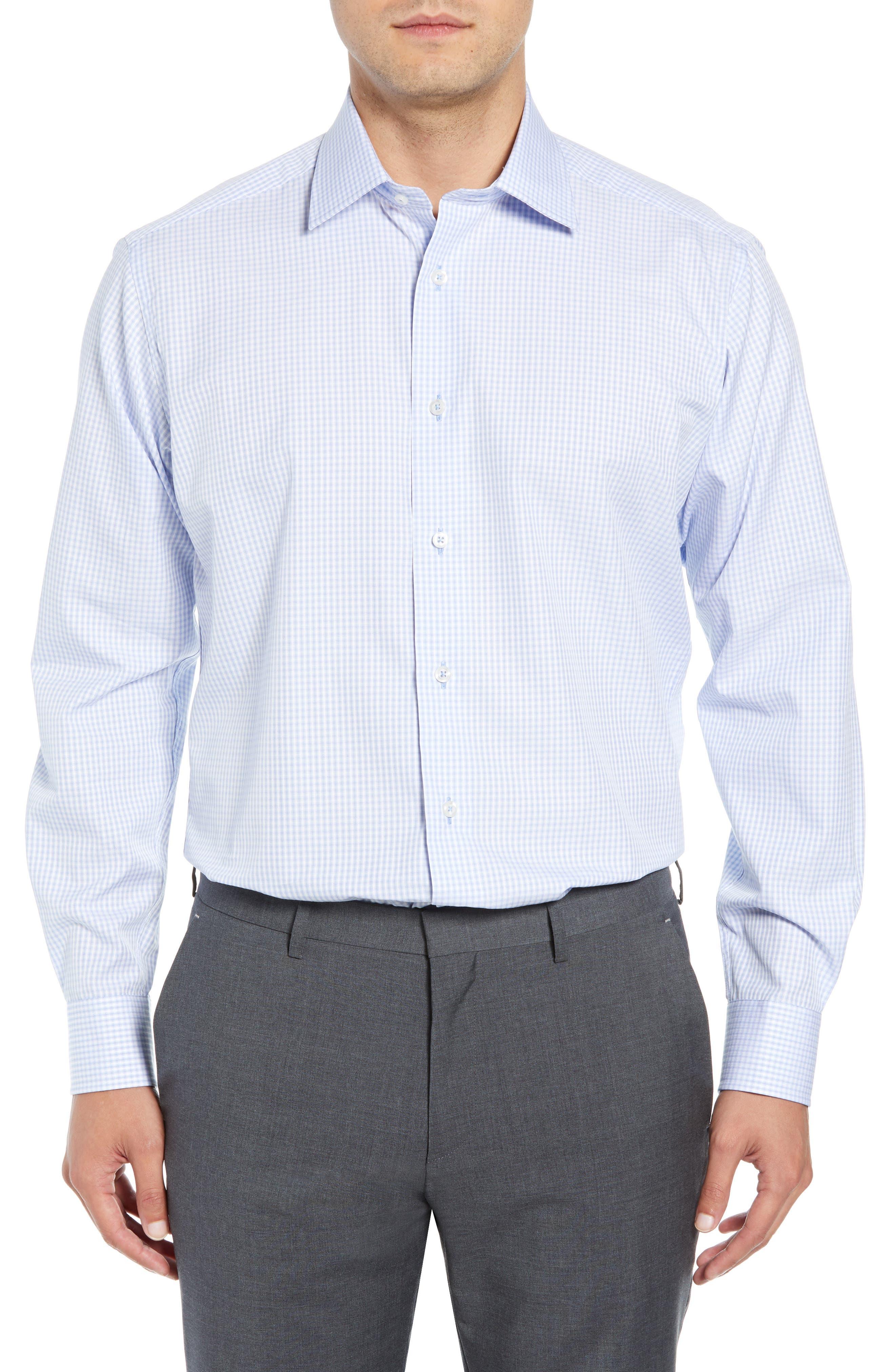 Regular Fit Check Dress Shirt,                         Main,                         color, BLUE