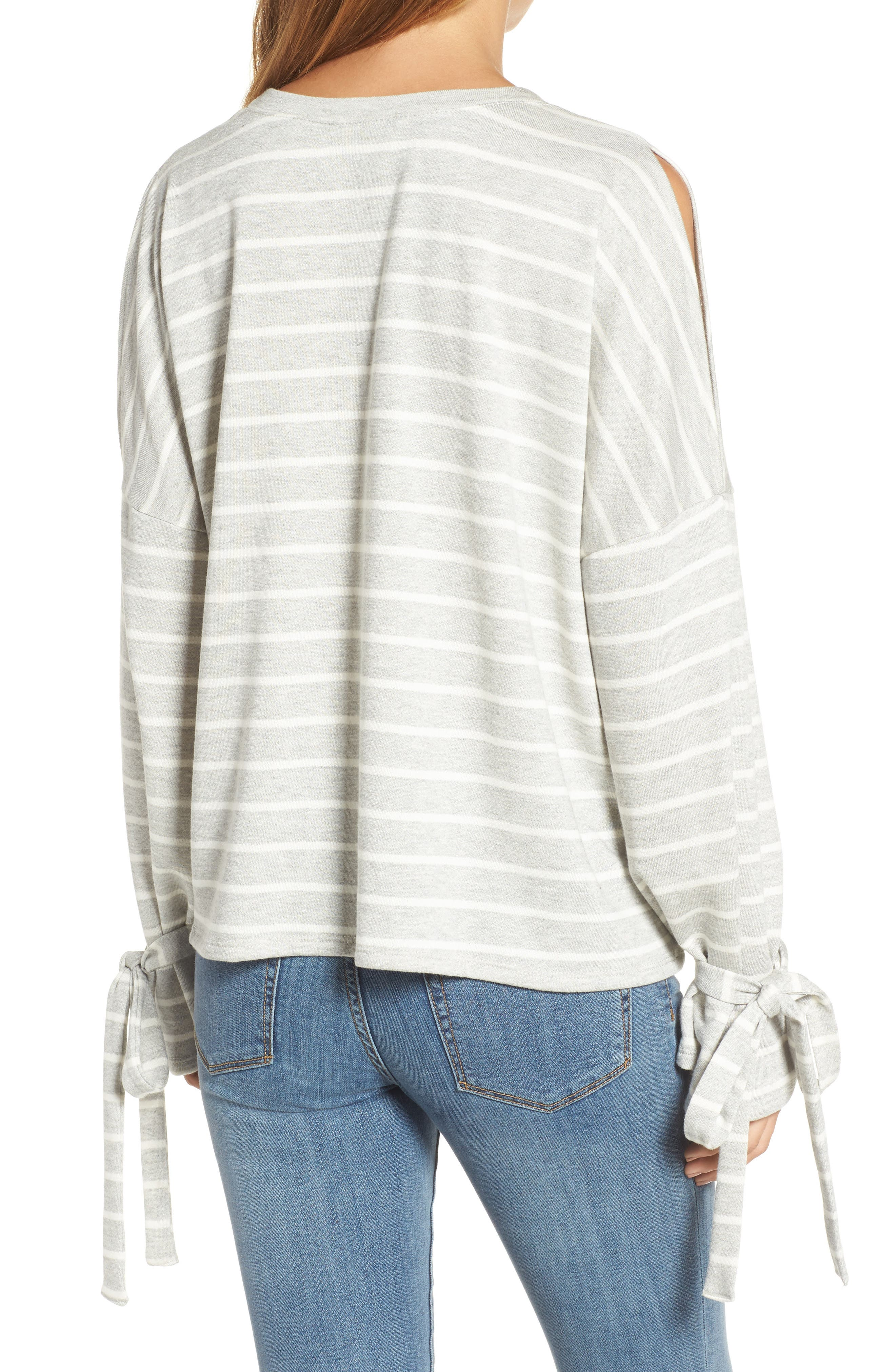 Calson<sup>®</sup> Cold Shoulder Tie Sleeve Tee,                             Alternate thumbnail 2, color,                             030
