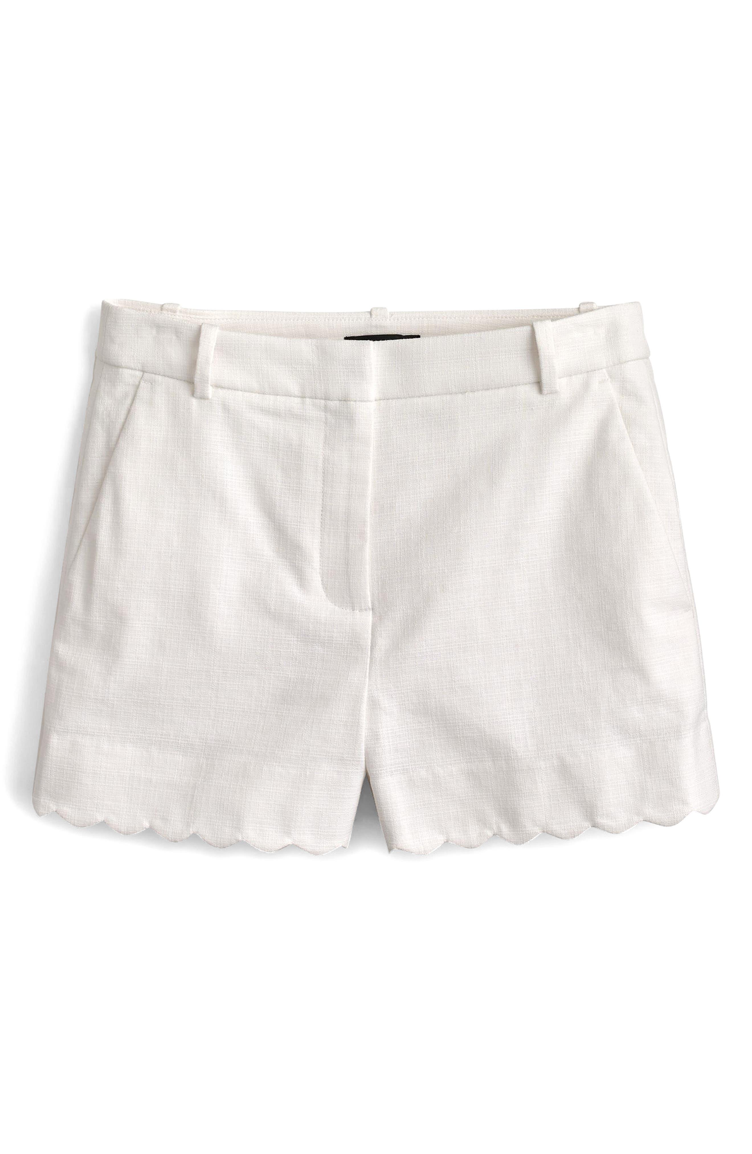 Fiesta Scallop Hem Stretch Cotton Shorts,                             Main thumbnail 2, color,