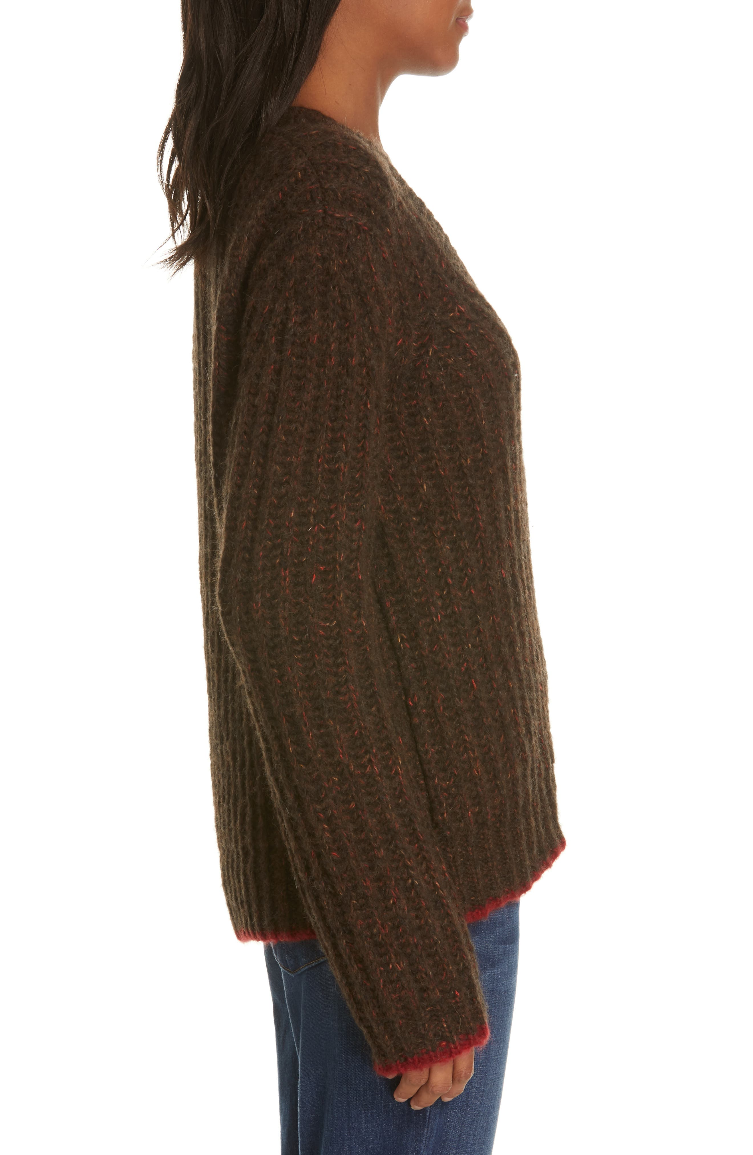 Oversize V-Neck Sweater,                             Alternate thumbnail 3, color,                             BROWN / RED