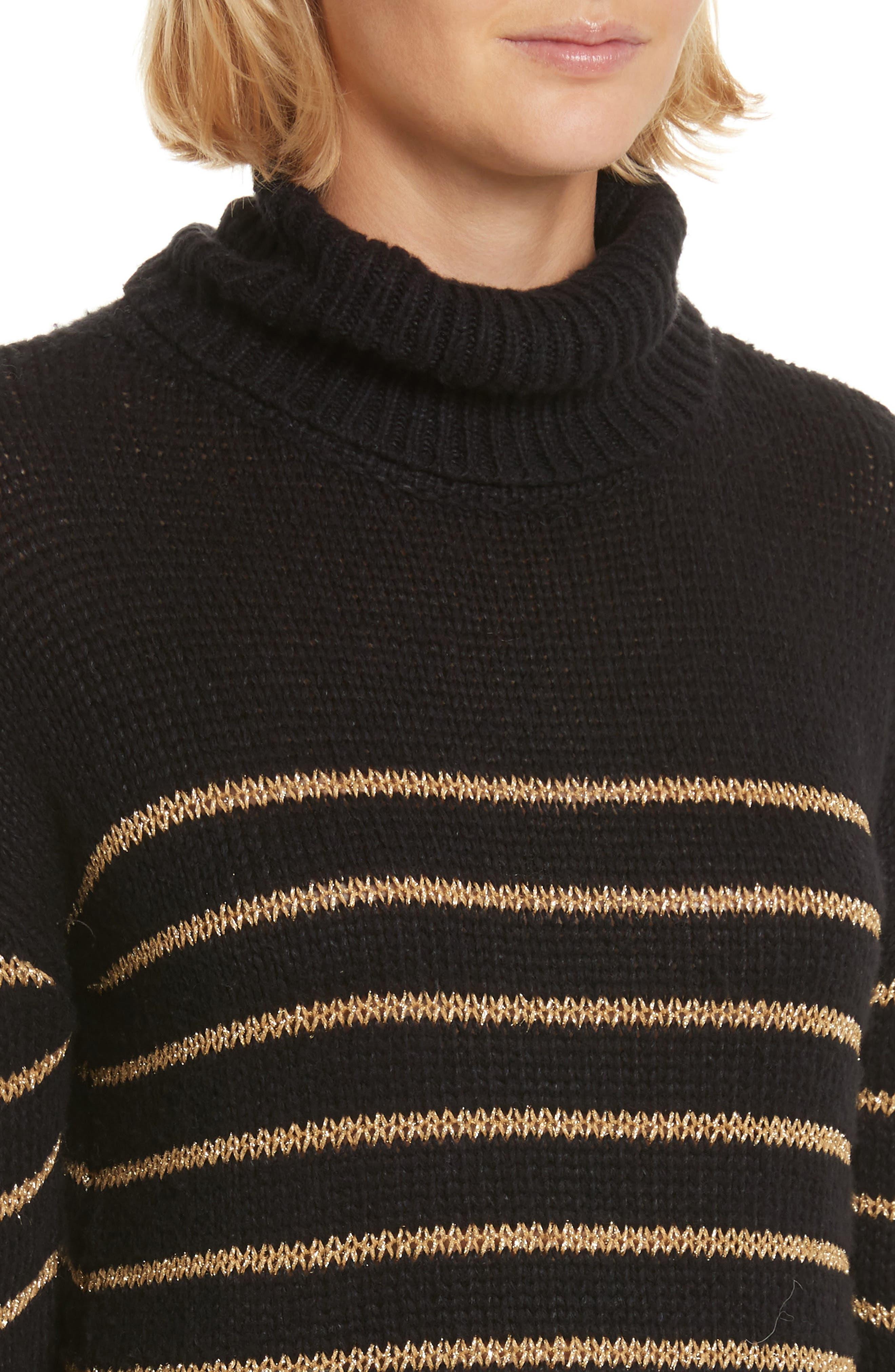 Elisa Metallic Stripe Turtleneck Sweater,                             Alternate thumbnail 4, color,                             010