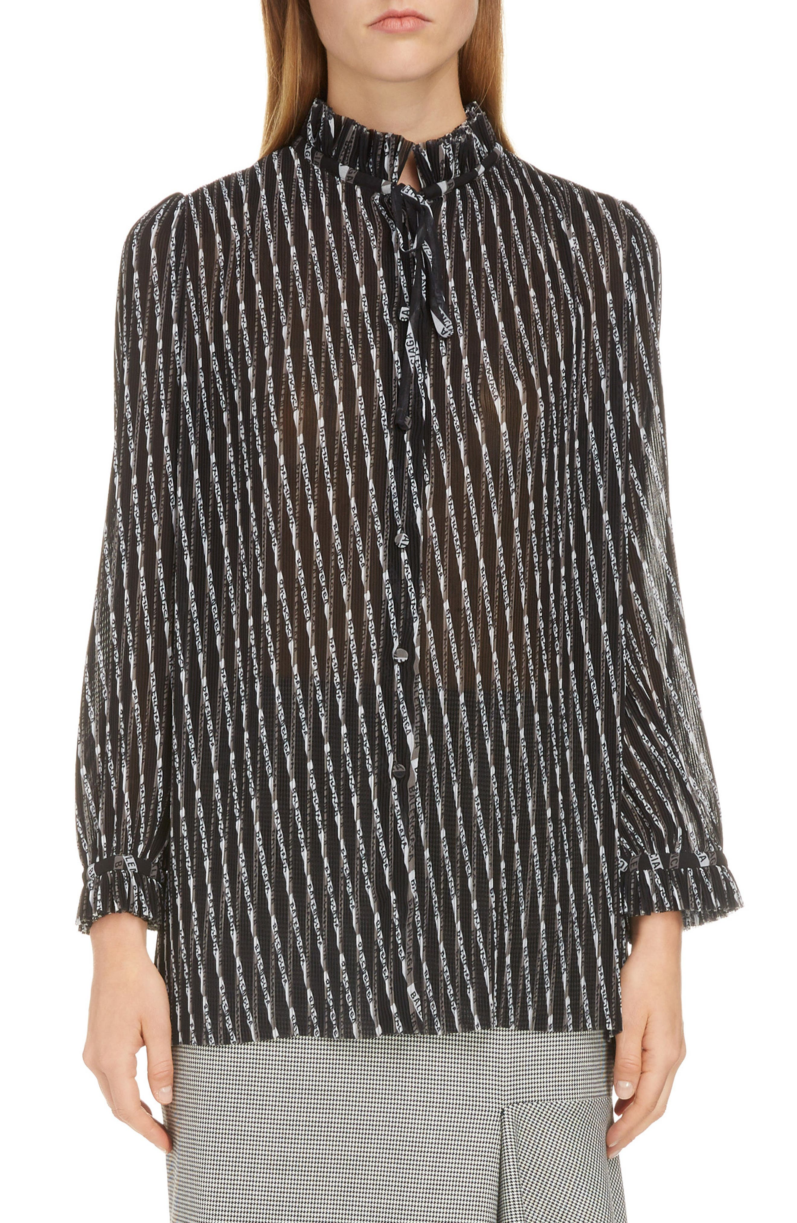 BALENCIAGA,                             Monogram Print Silk Blouse,                             Main thumbnail 1, color,                             GREY