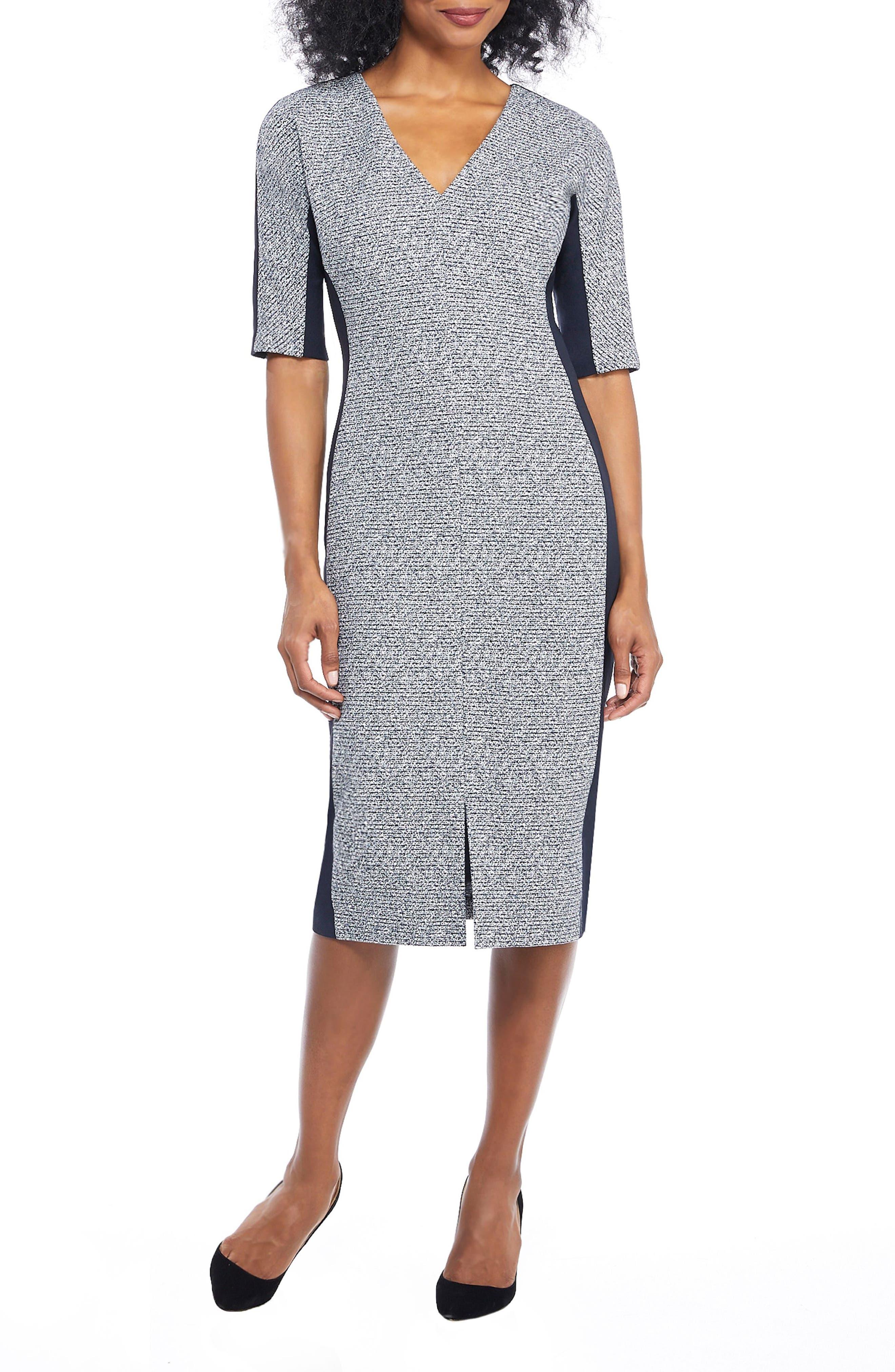Maggy London Metallic Ribbed Tweed V-Neck Sheath Dress, Blue