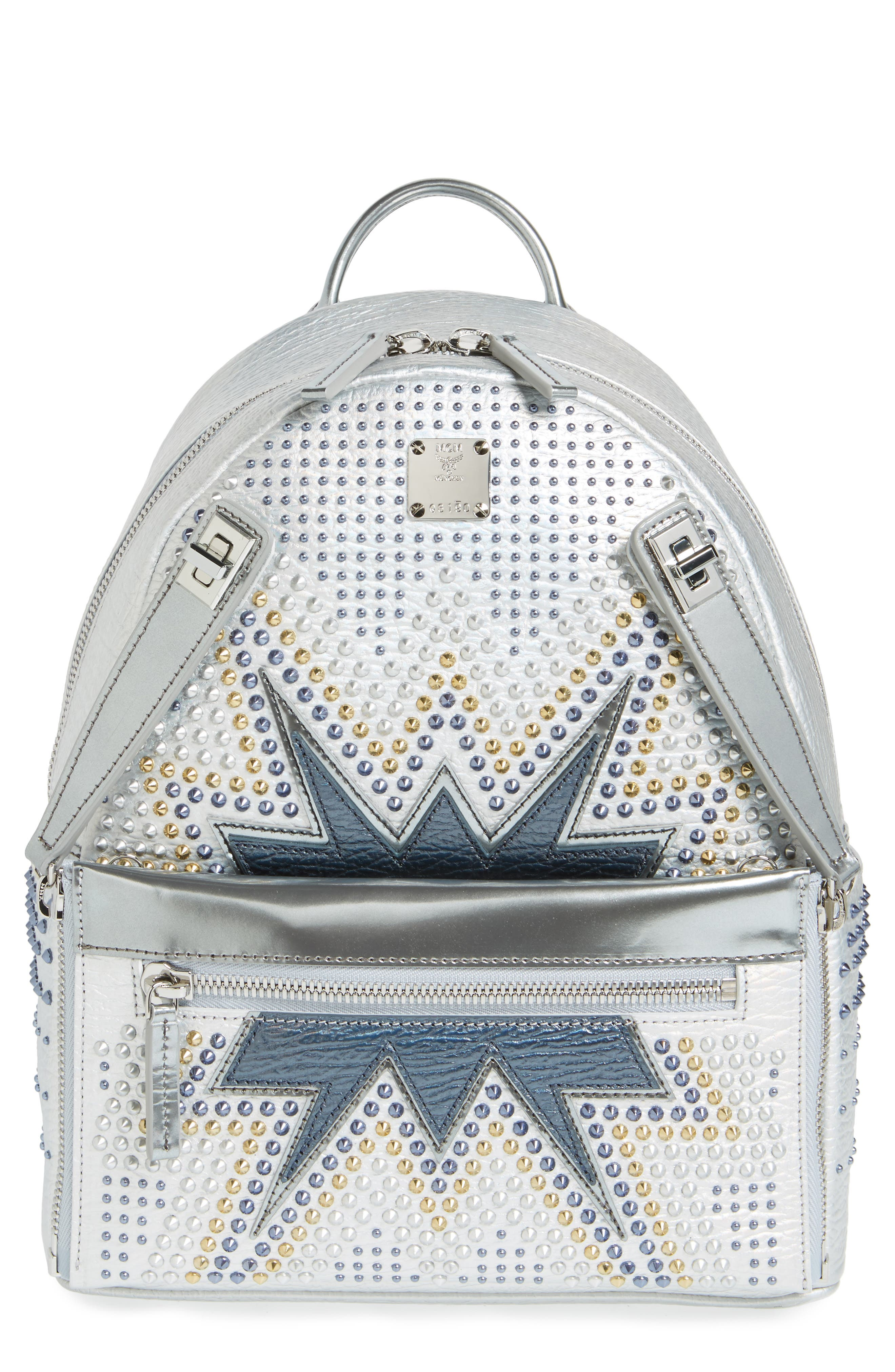 Dual Stark Studded Leather Backpack,                             Main thumbnail 2, color,