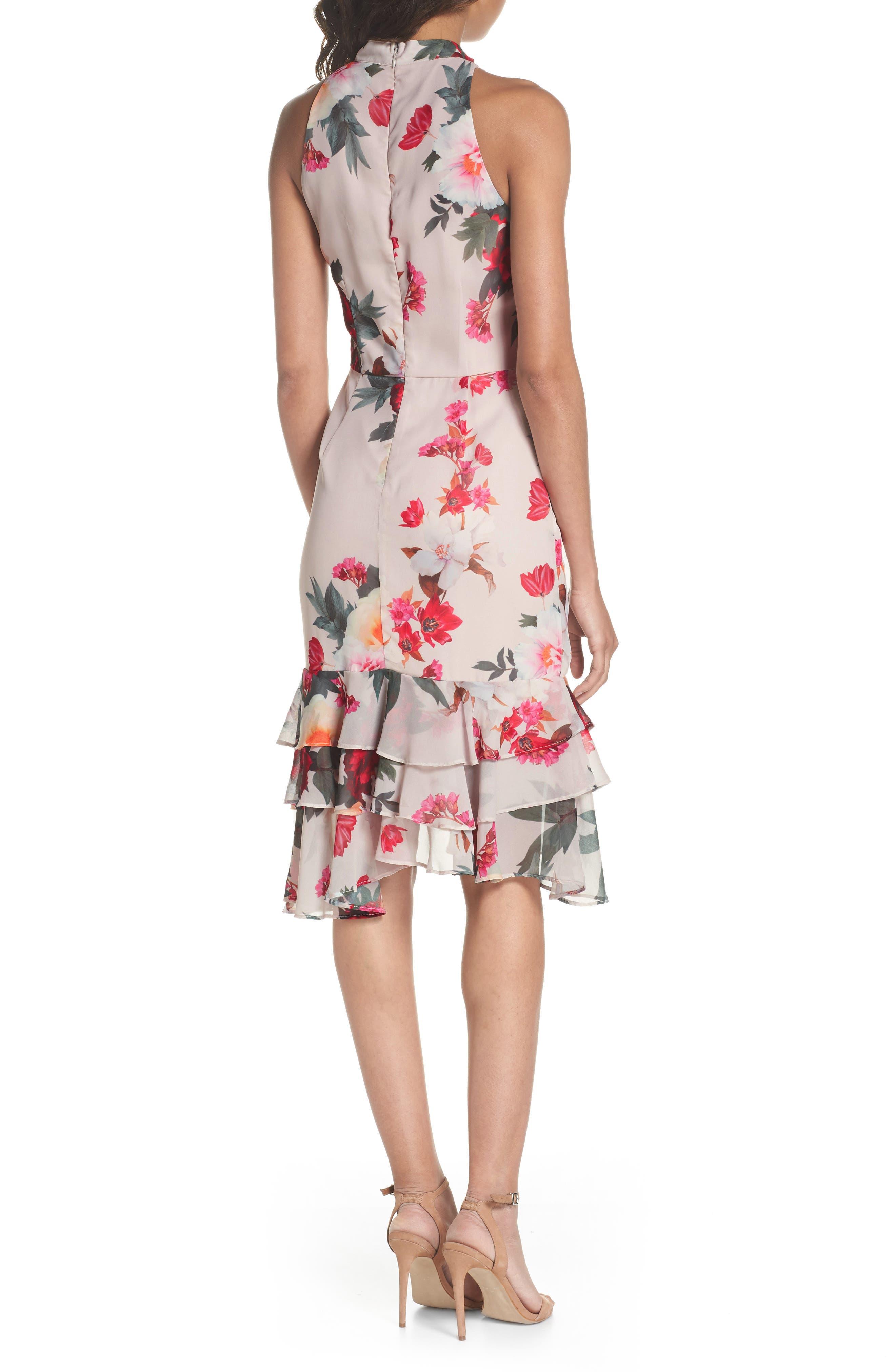 Rosa High Neck Ruffle Hem Dress,                             Alternate thumbnail 2, color,                             266