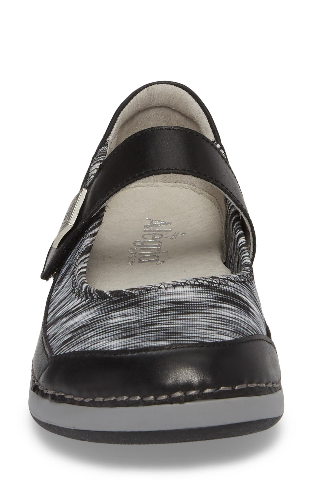 Gem Mary Jane Flat,                             Alternate thumbnail 4, color,                             BLACK LEATHER