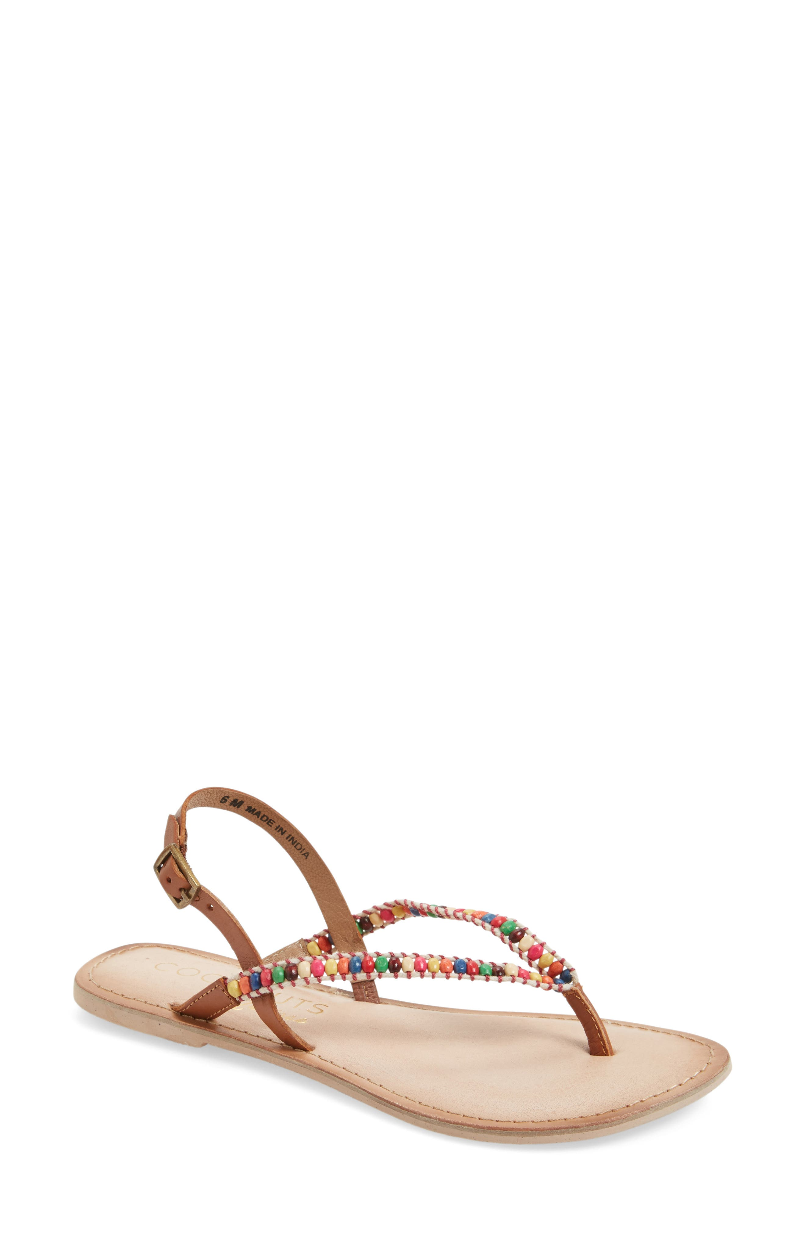 Coconuts by Matisse Celebration Beaded Sandal,                             Main thumbnail 2, color,