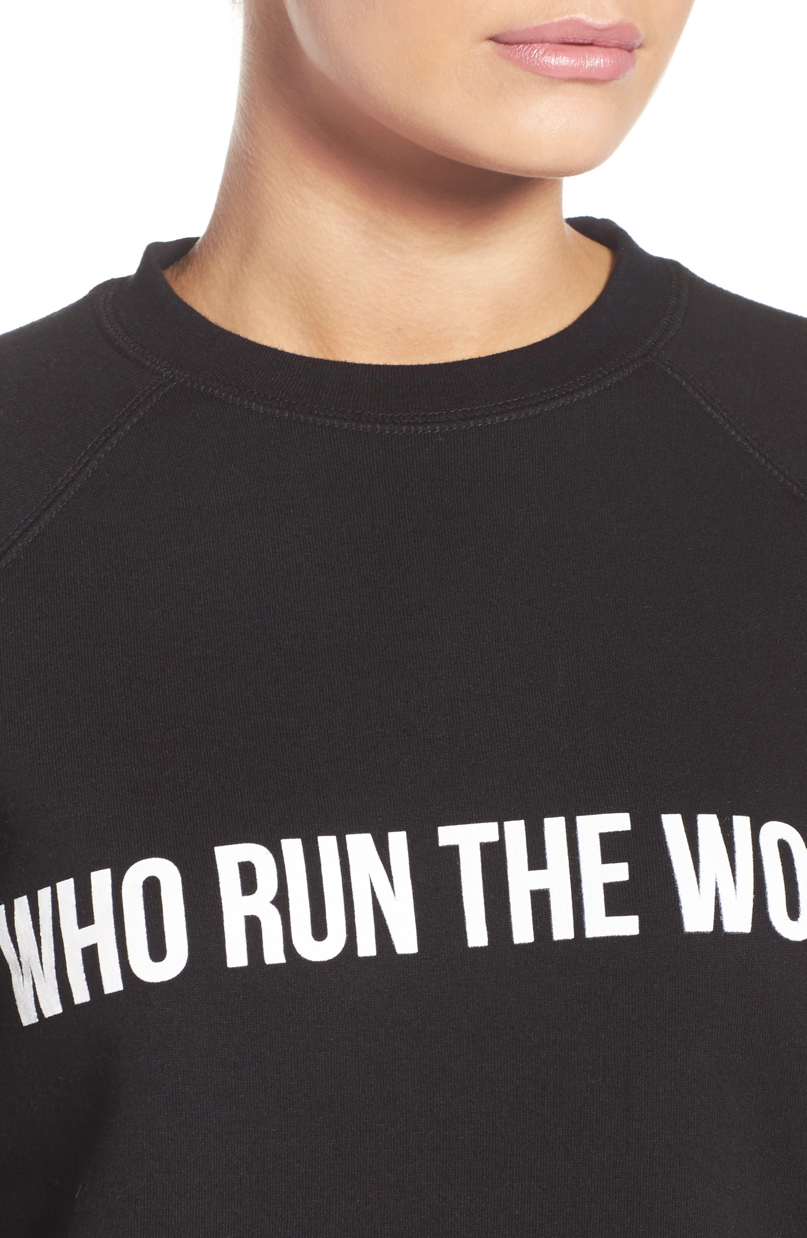 Who Run the World Sweatshirt,                             Alternate thumbnail 4, color,                             001