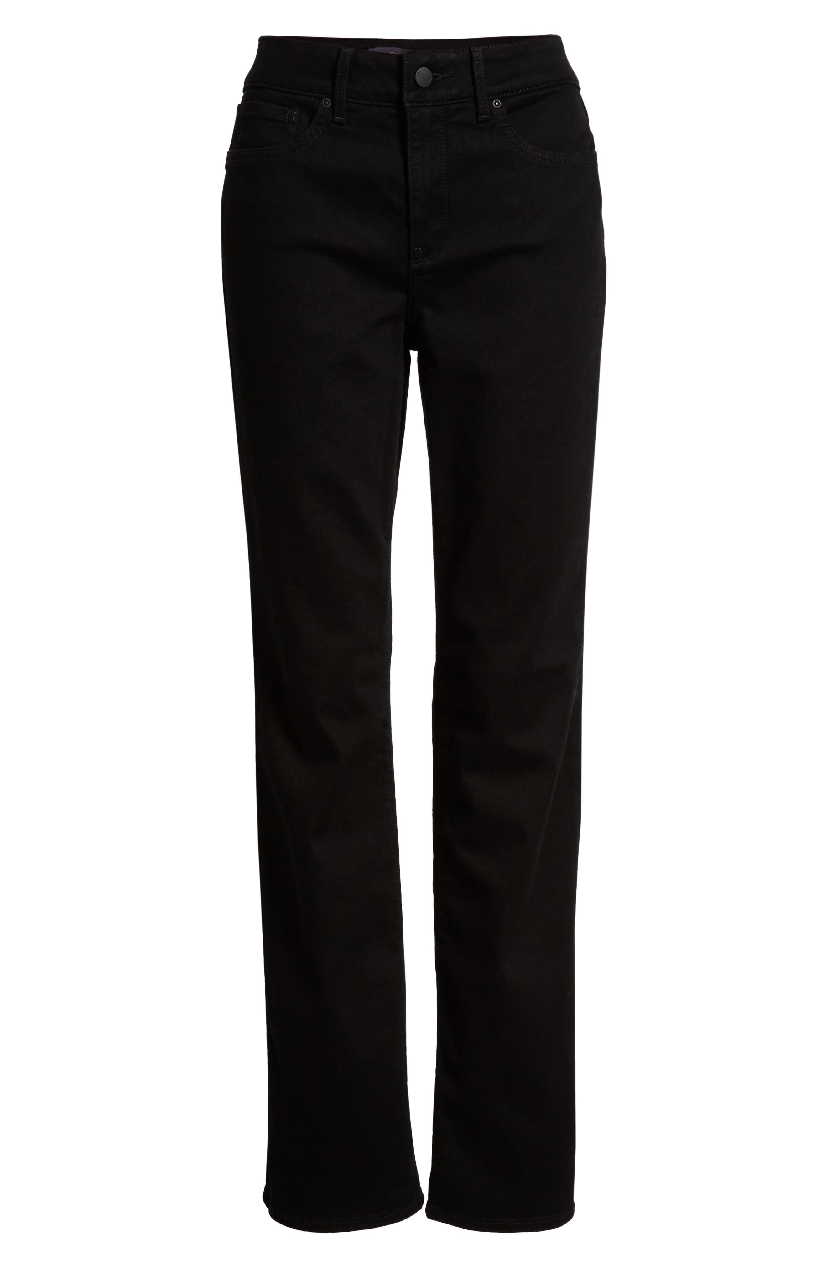 Marilyn High Waist Straight Jeans,                             Alternate thumbnail 4, color,                             BLACK