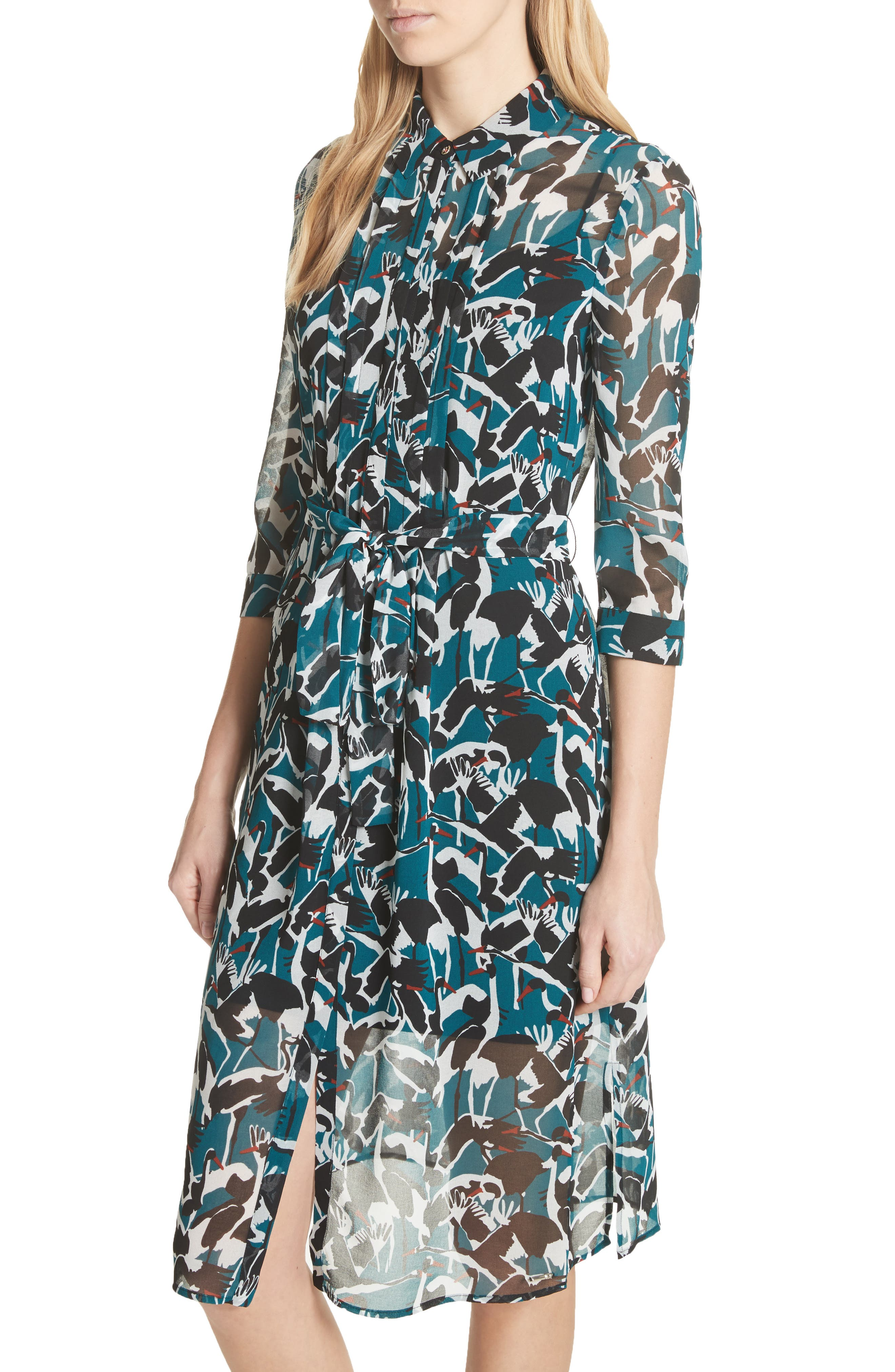 Colour by Numbers Crane Shirtdress,                             Alternate thumbnail 4, color,                             440