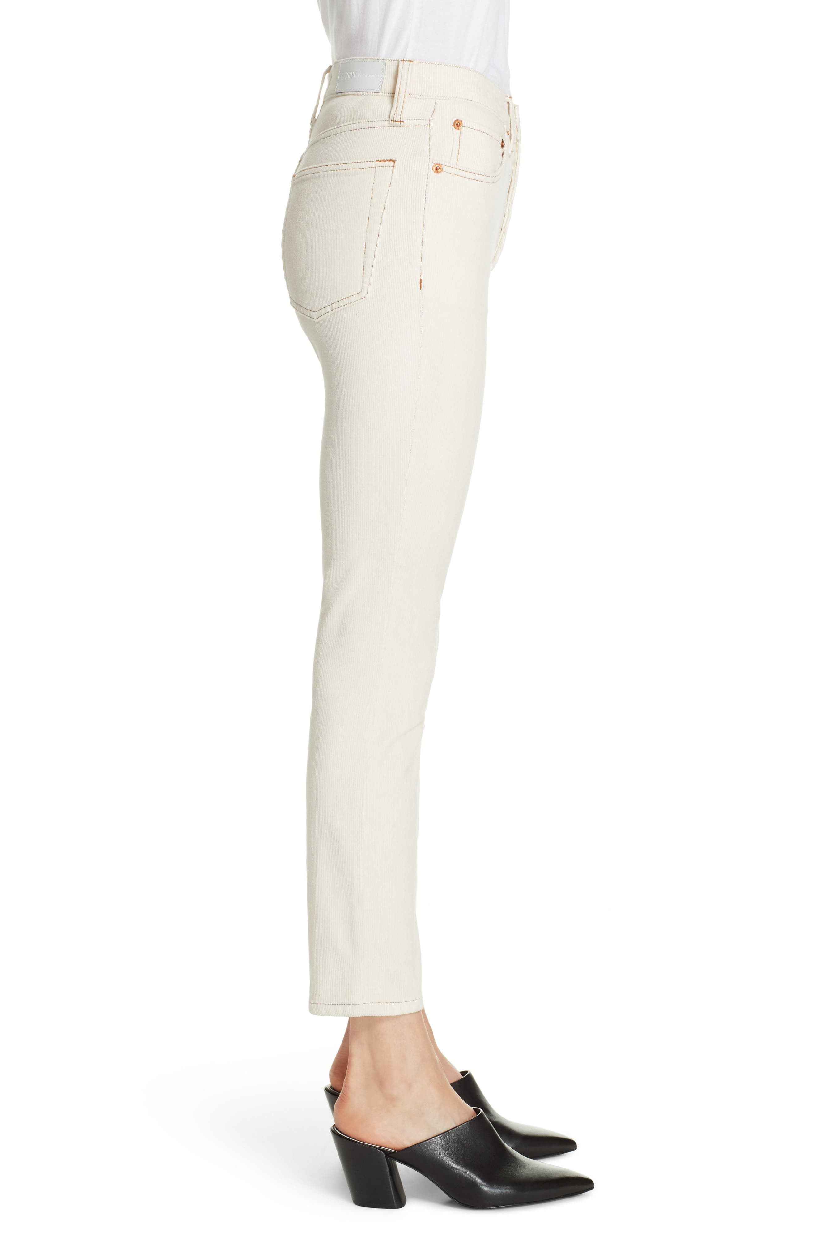 High Waist Crop Skinny Corduroy Jeans,                             Alternate thumbnail 3, color,                             WINTER WHITE