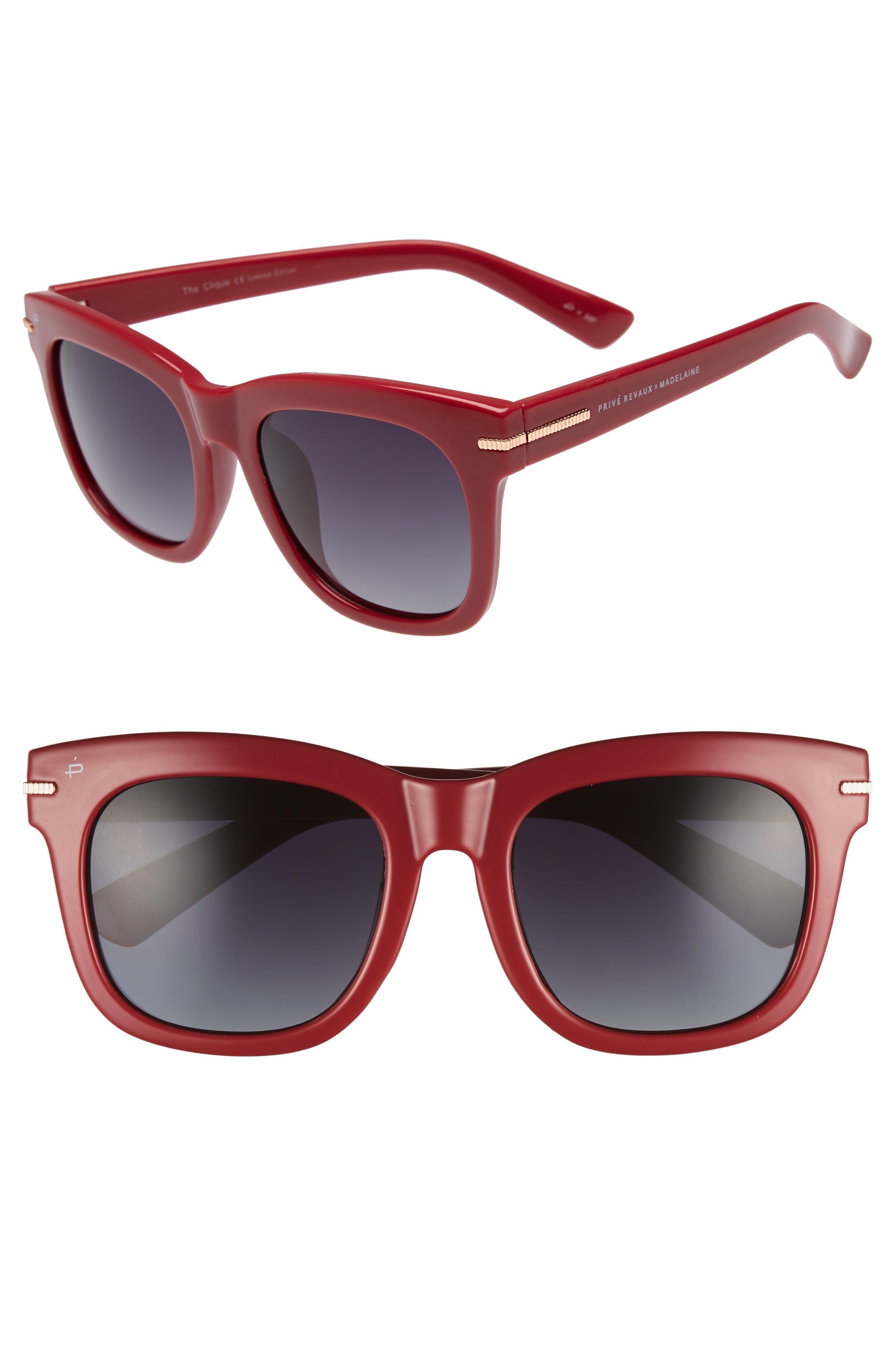 Privé Revaux x Madelaine Petsch The Clique 52mm Square Sunglasses,                             Main thumbnail 1, color,                             RED
