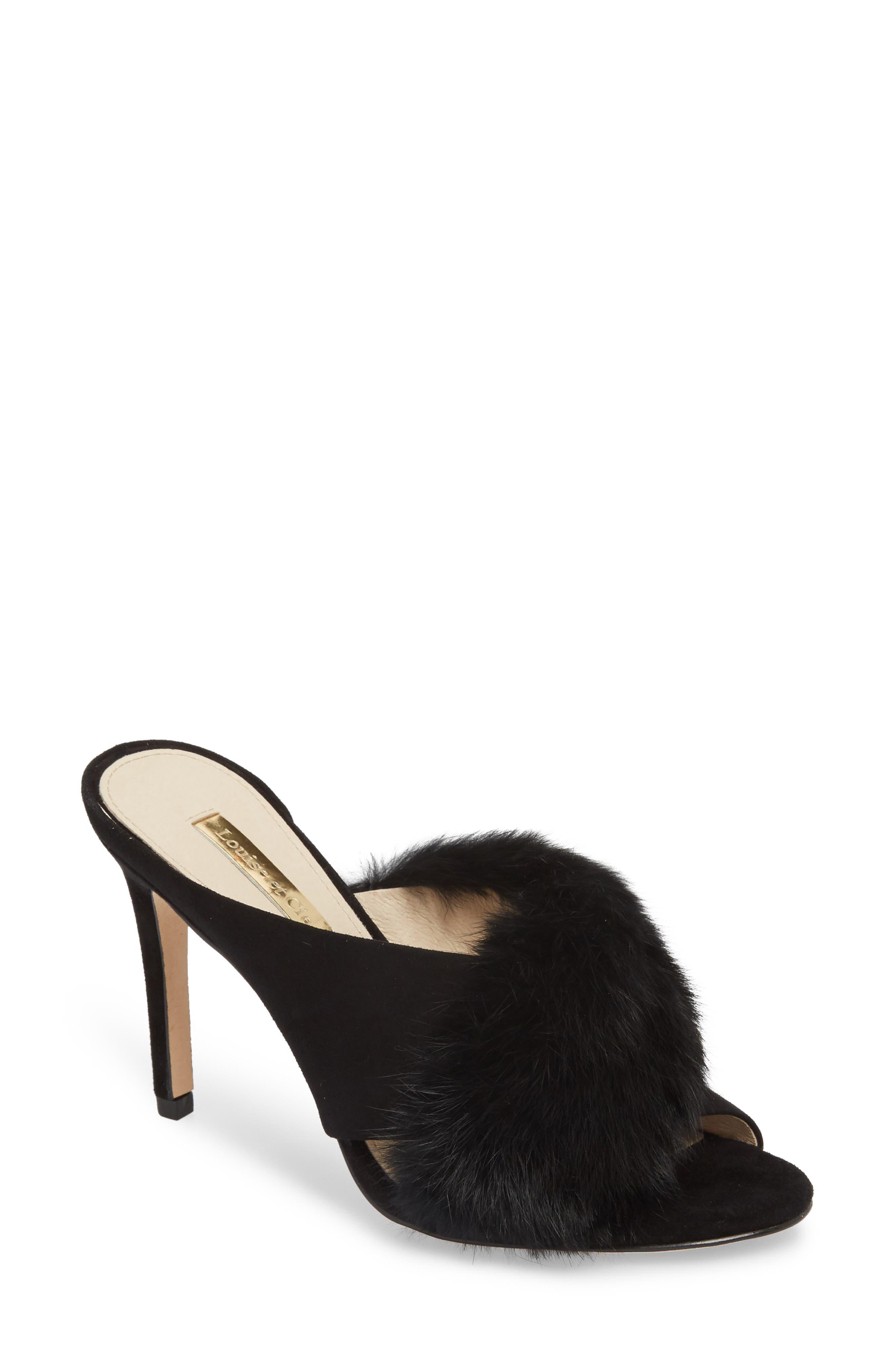 Halloway Genuine Rabbit Fur Sandal,                             Main thumbnail 1, color,                             BLACK RABBIT FUR