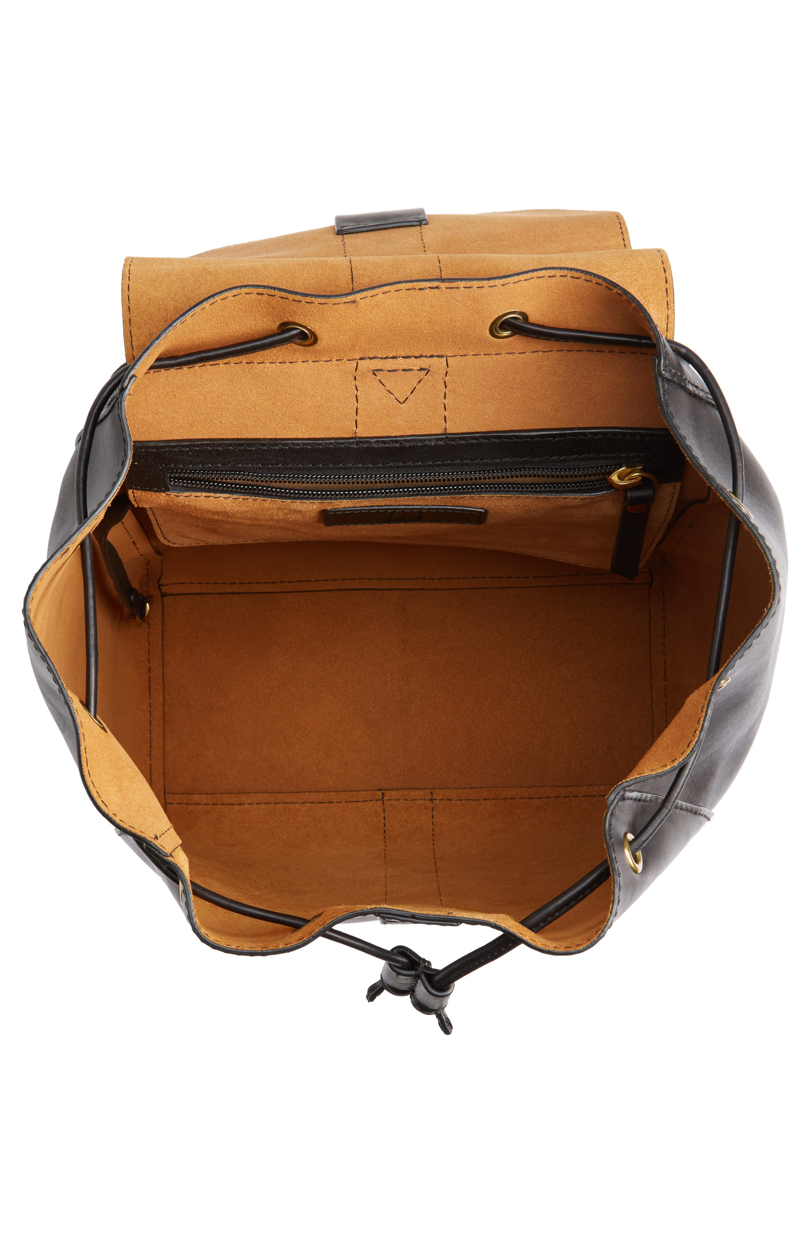 Ilana Harness Leather Backpack,                             Alternate thumbnail 4, color,                             001