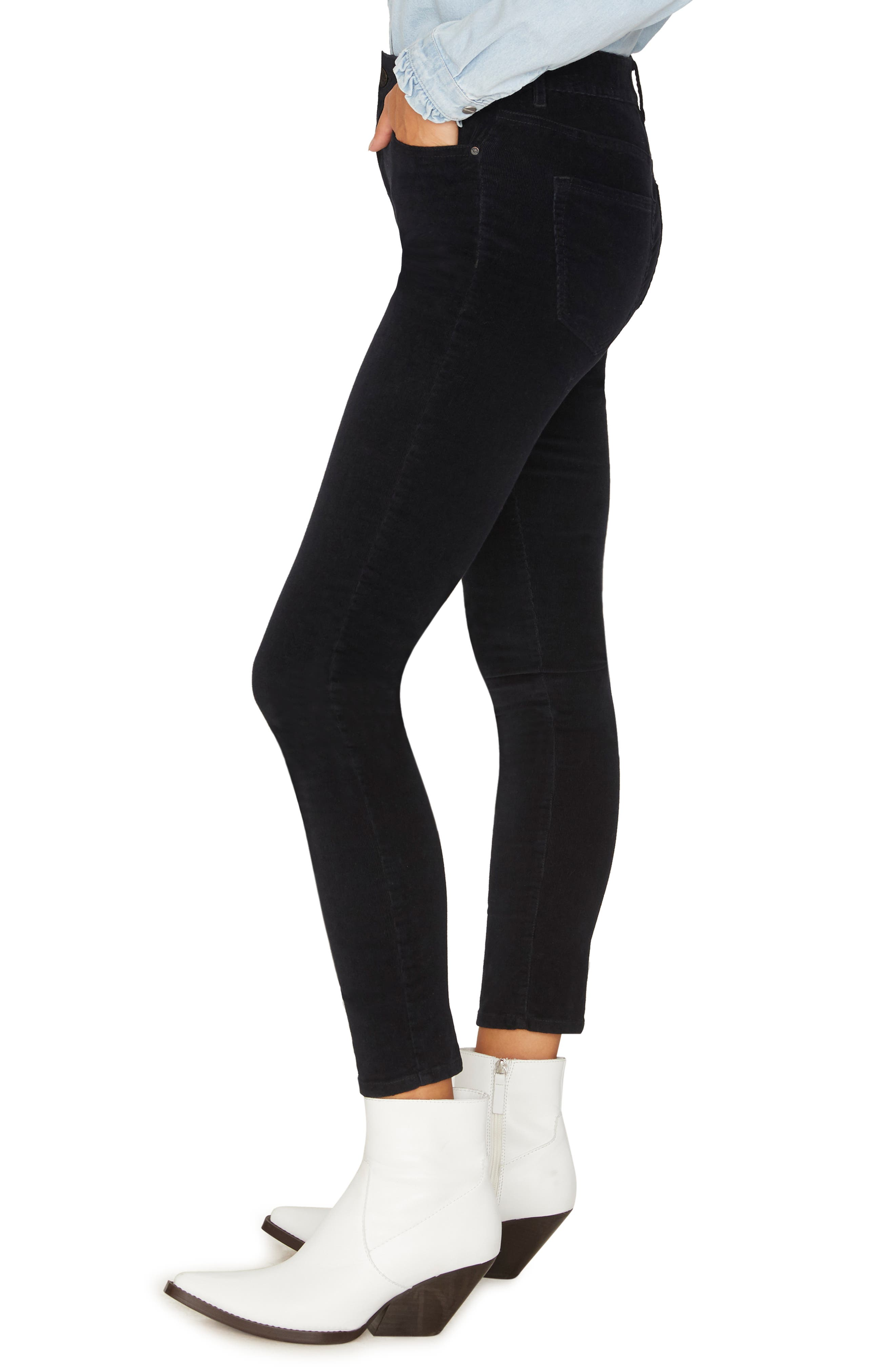 Social Standard Skinny Corduroy Pants,                             Alternate thumbnail 3, color,                             BLACK