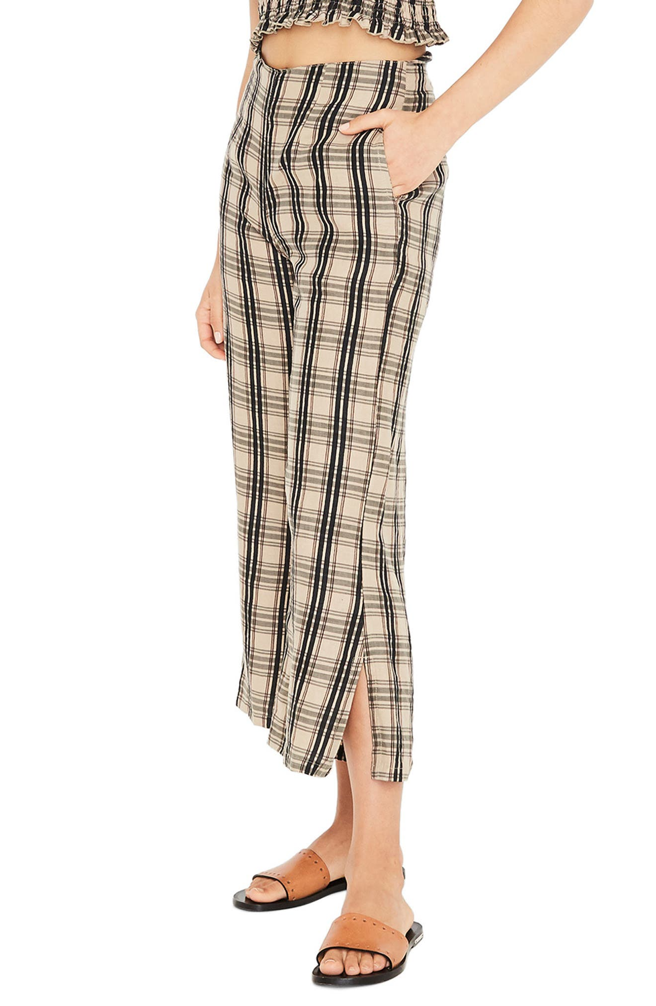 Carmen Plaid Crop Flare Pants,                             Alternate thumbnail 3, color,                             HILLARY PRINT