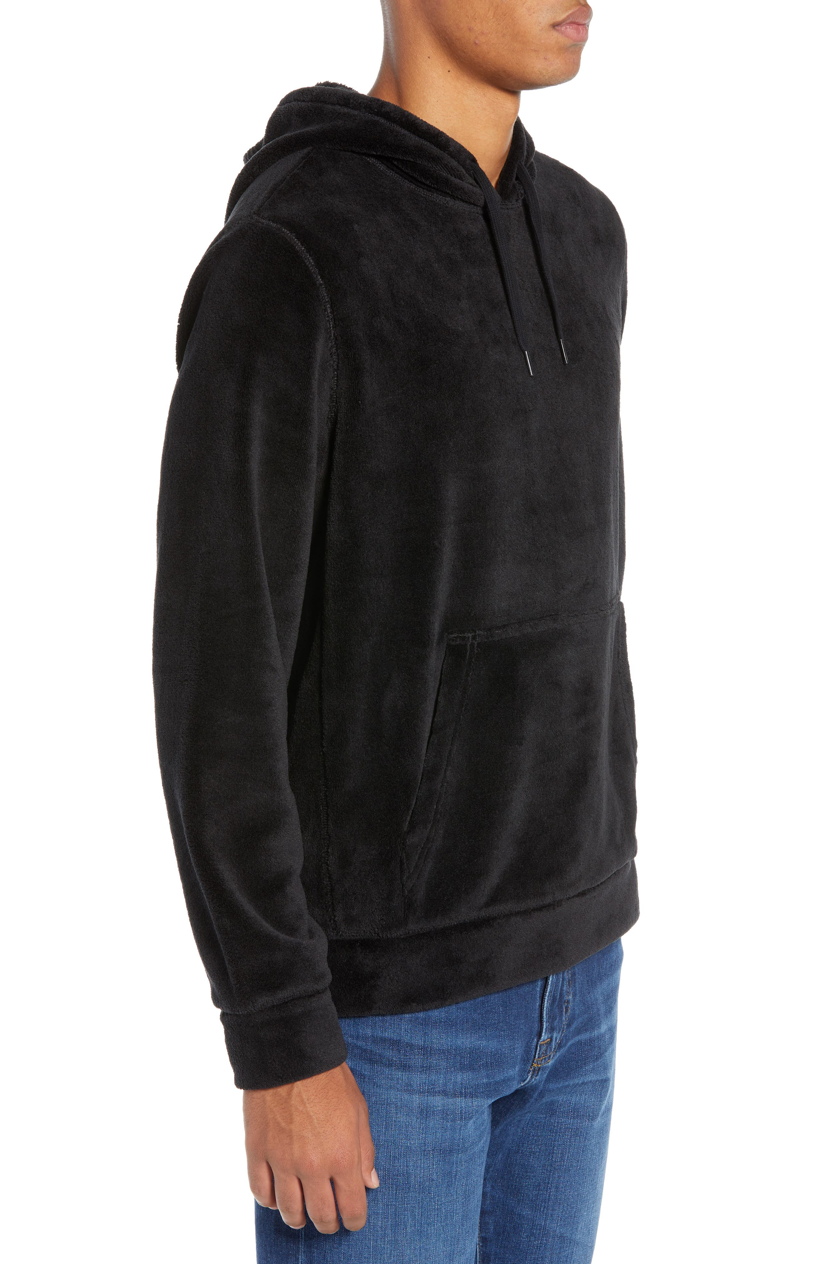 Cozy Solid Polar Fleece Hoodie,                             Alternate thumbnail 3, color,                             BLACK CAVIAR