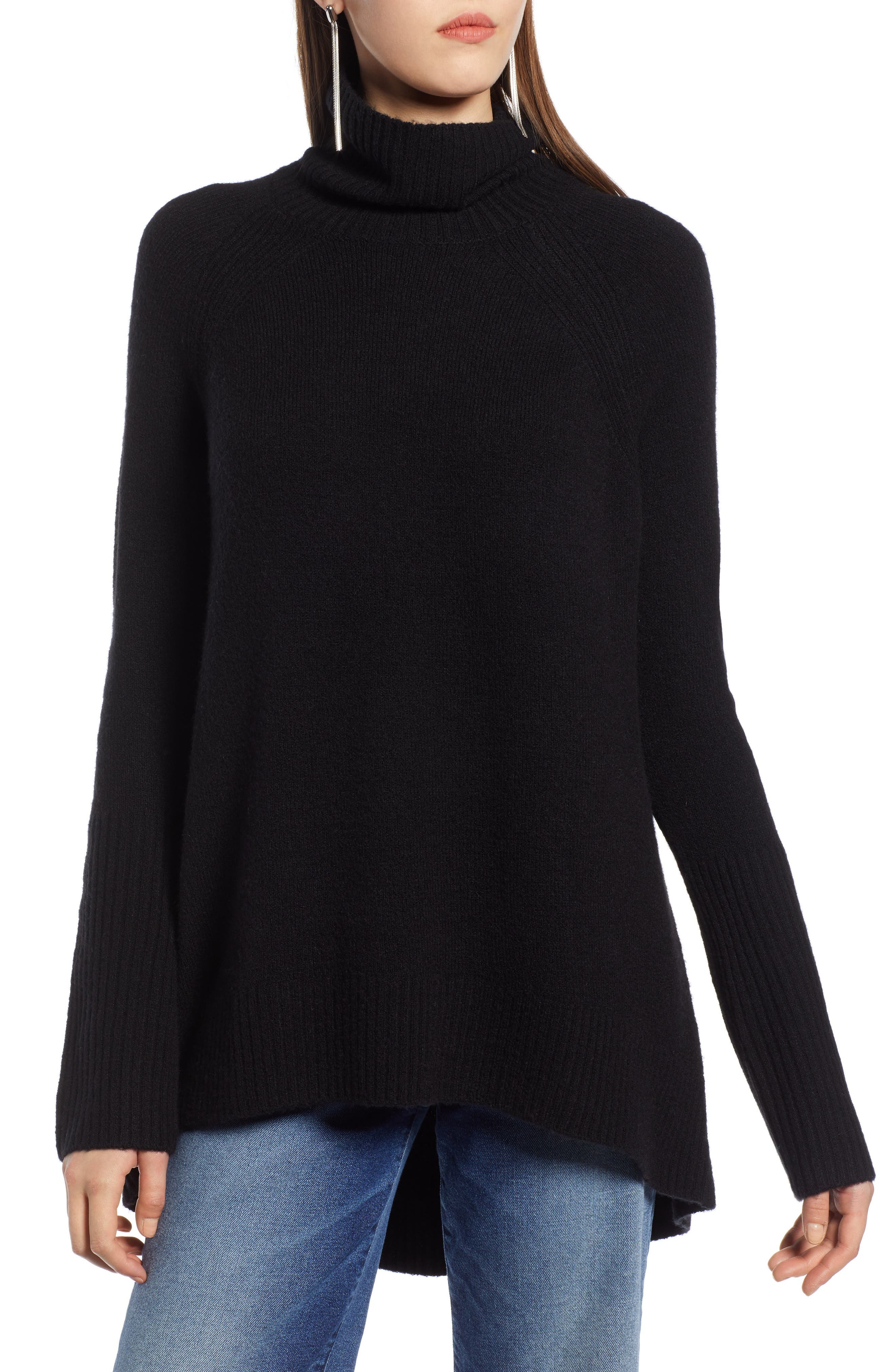 High Low Oversize Wool Blend Sweater,                             Main thumbnail 1, color,                             BLACK