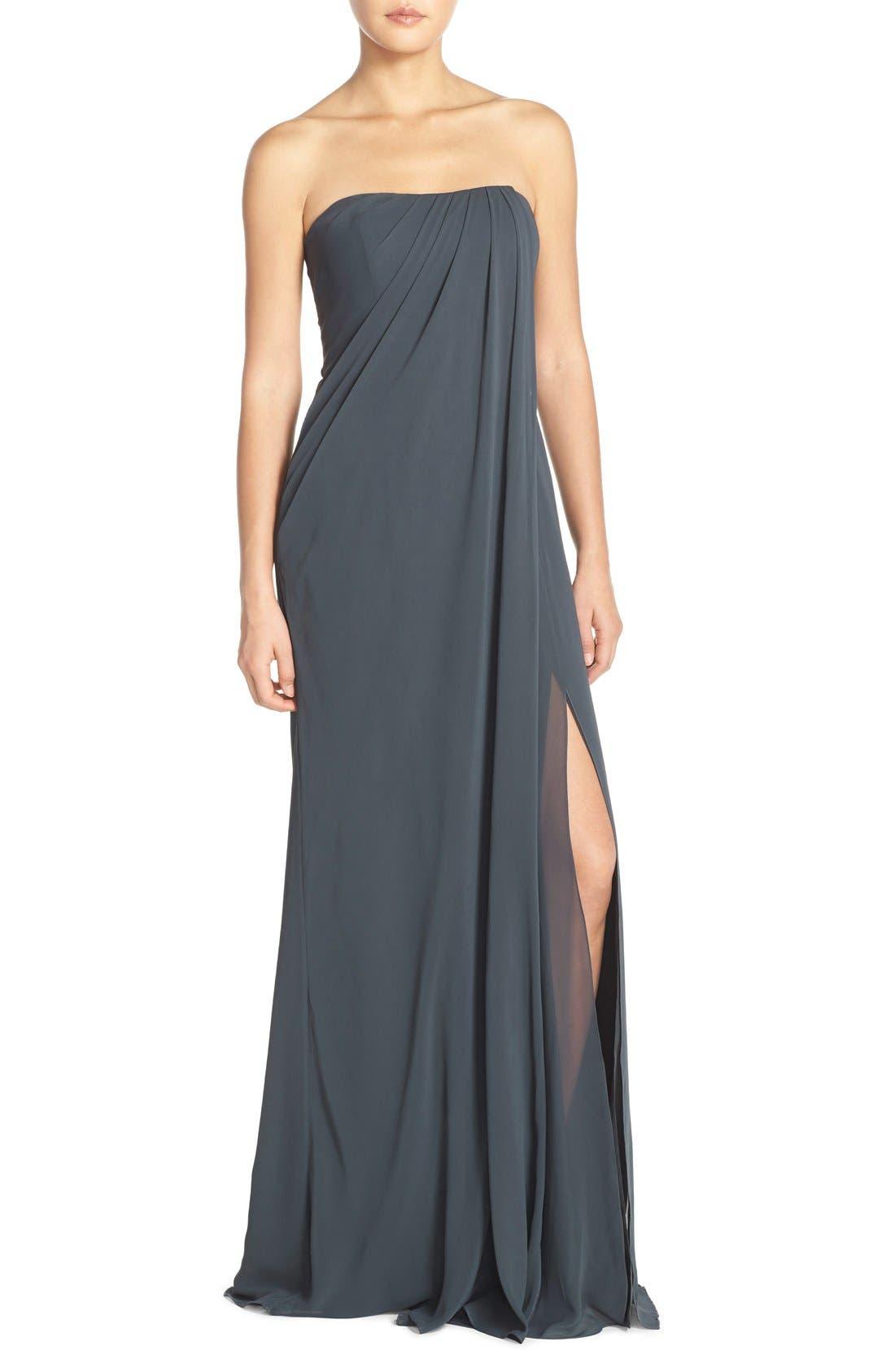 Raquel Front Slit Strapless Chiffon Gown,                             Main thumbnail 1, color,                             026