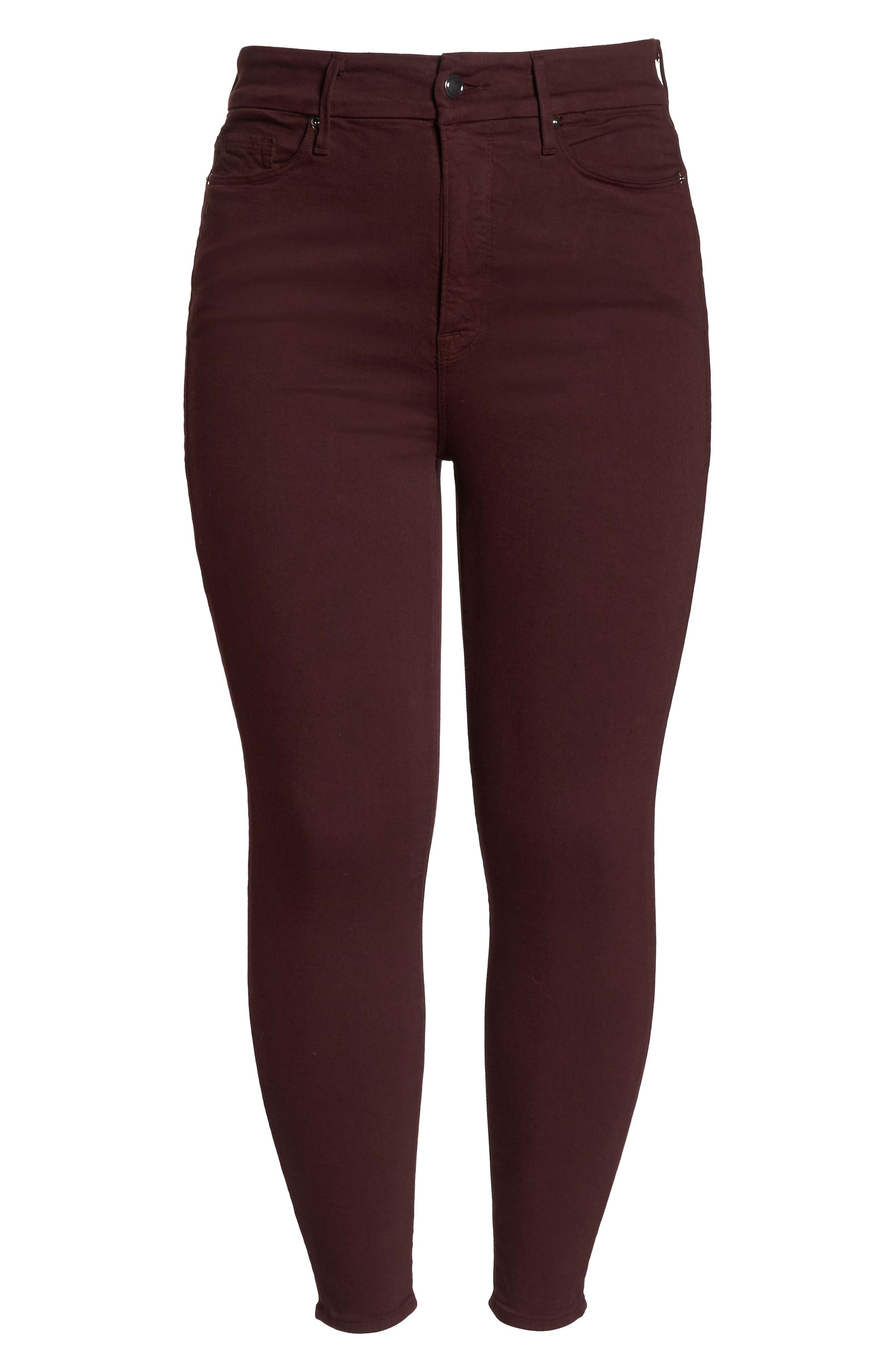 Good Legs High Waist Ankle Skinny Jeans,                             Alternate thumbnail 13, color,                             BURGUNDY 001