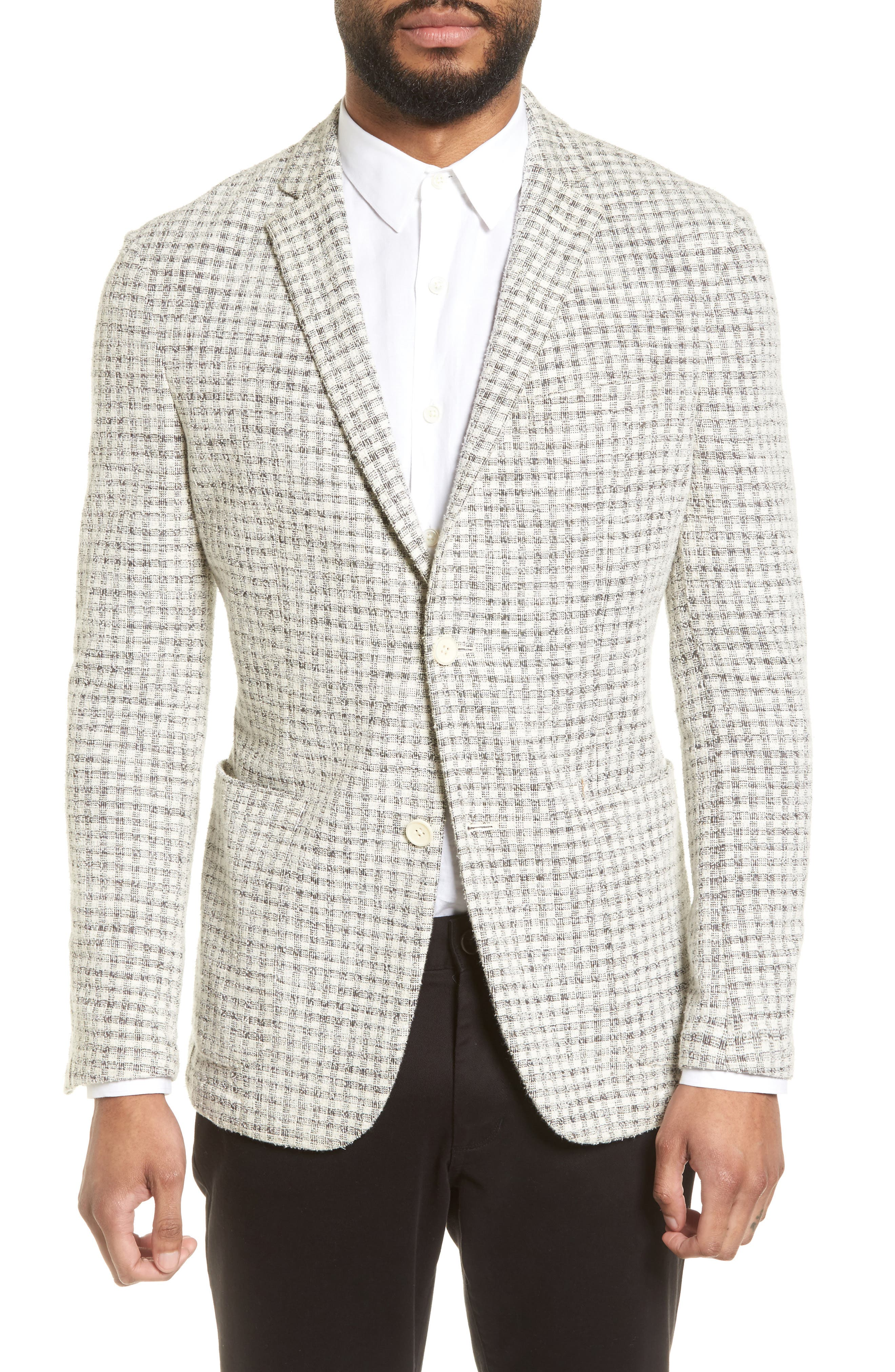 Dell Aria Unconstructed Blazer,                             Main thumbnail 1, color,                             GREY CREAM CHECK BOUCLE