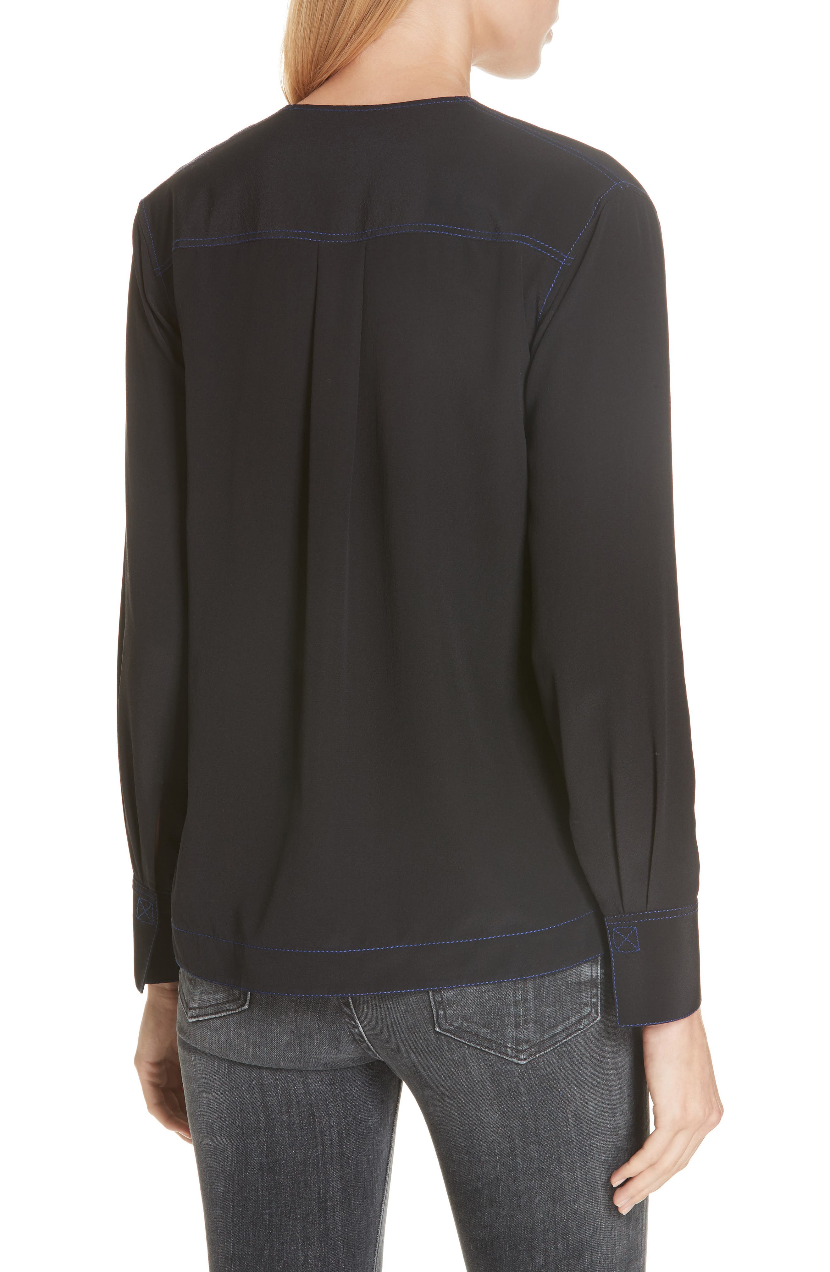 Shields Silk Blouse,                             Alternate thumbnail 2, color,                             BLACK
