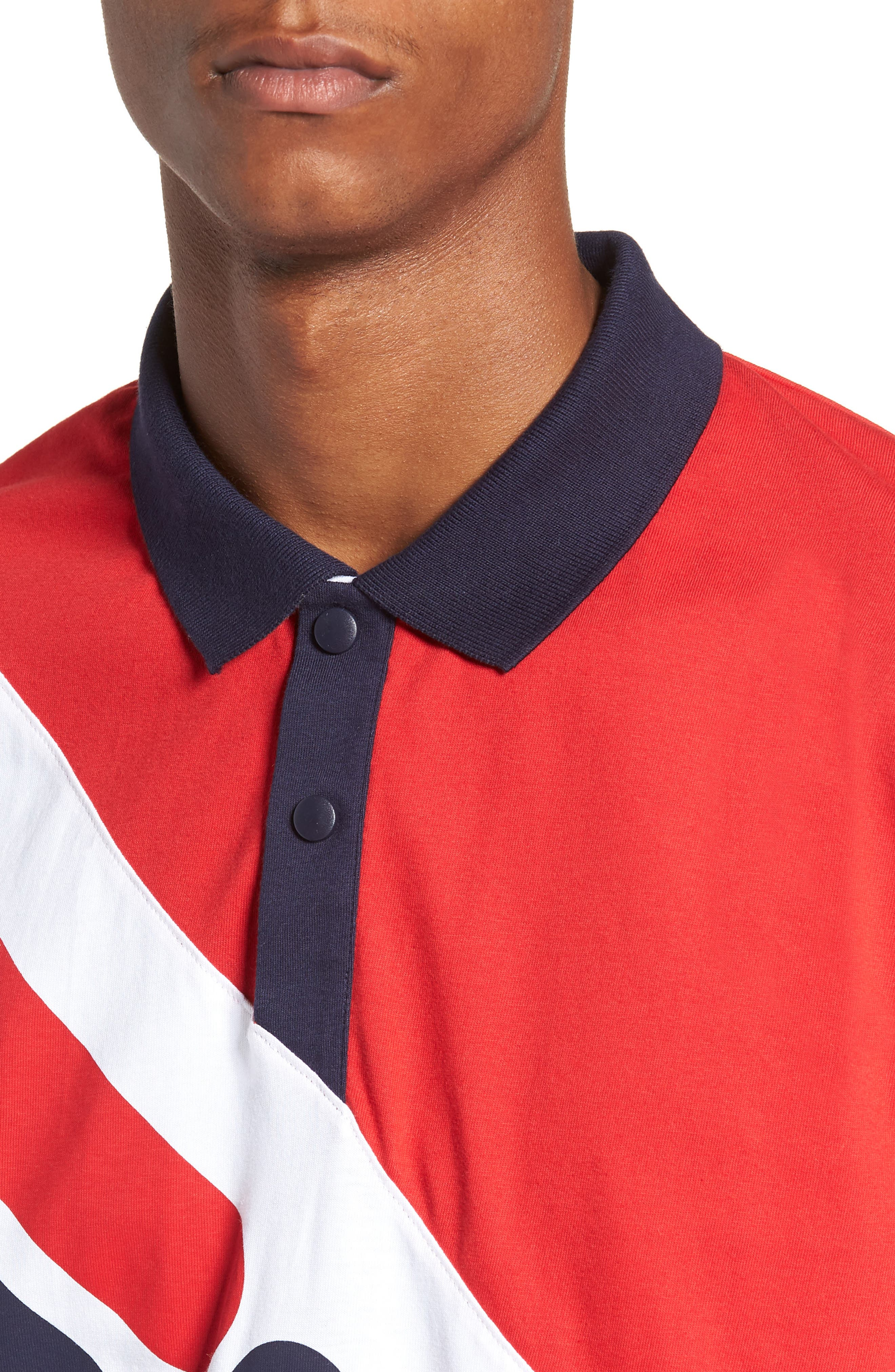 Taygen Rugby Polo,                             Alternate thumbnail 4, color,                             PEATCOAT/ WHITE/ CHINESE RED