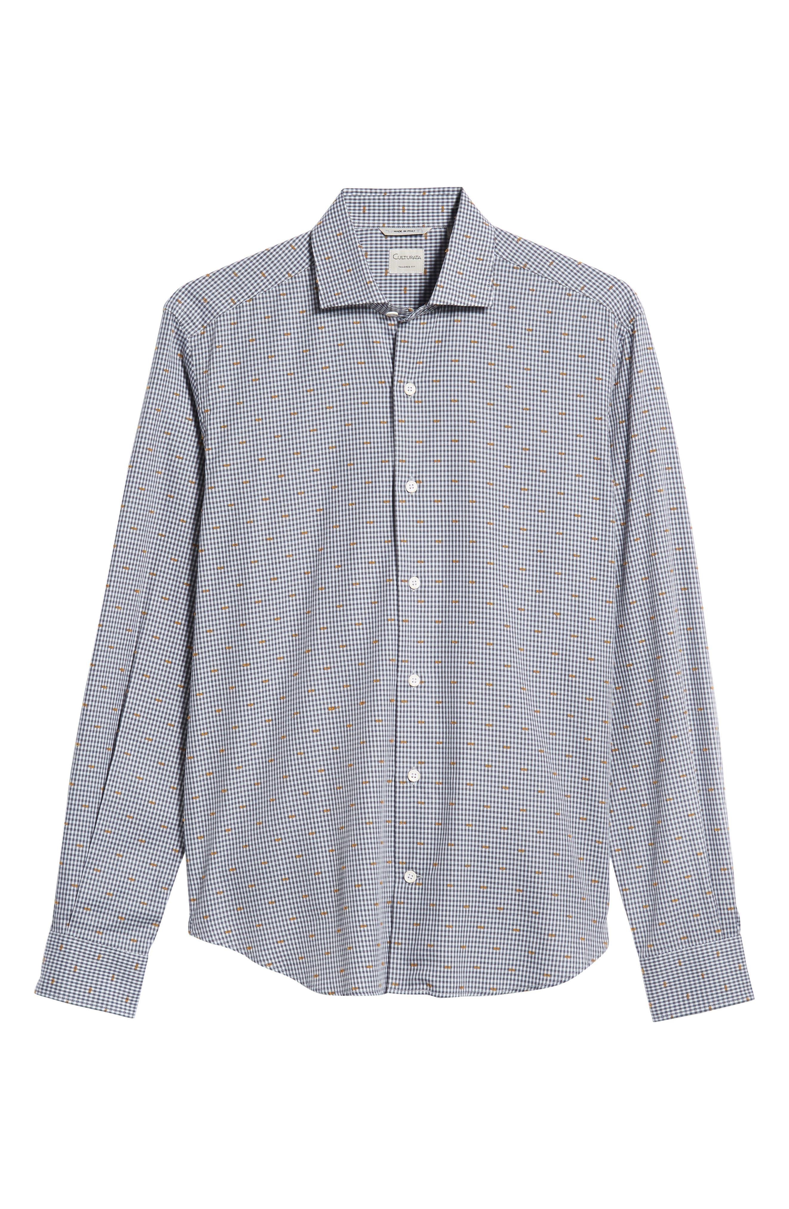 CULTURATA,                             Coupé Dot Tailored Fit Gingham Sport Shirt,                             Alternate thumbnail 5, color,                             020