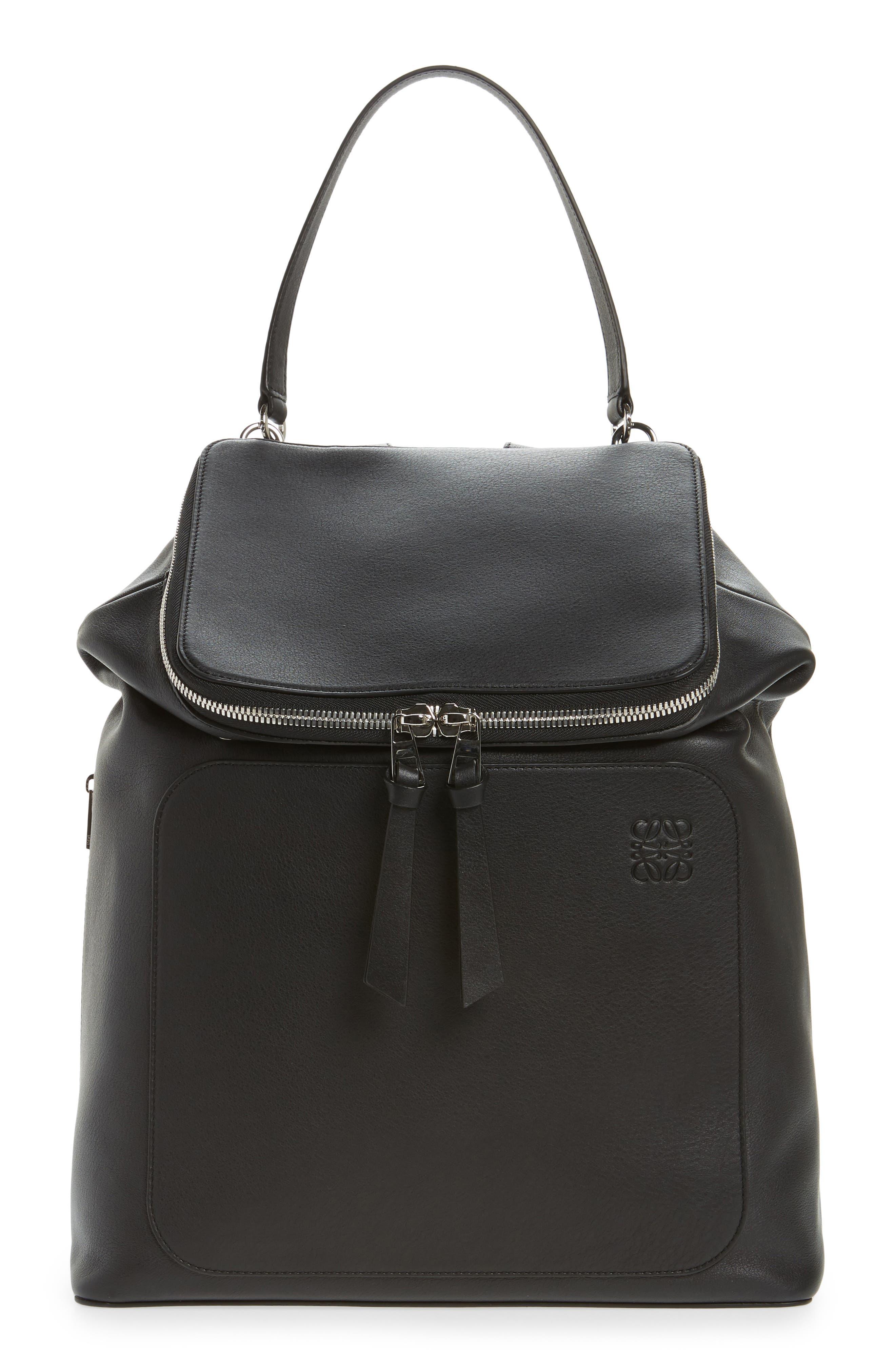 Goya Leather Backpack,                         Main,                         color, BLACK