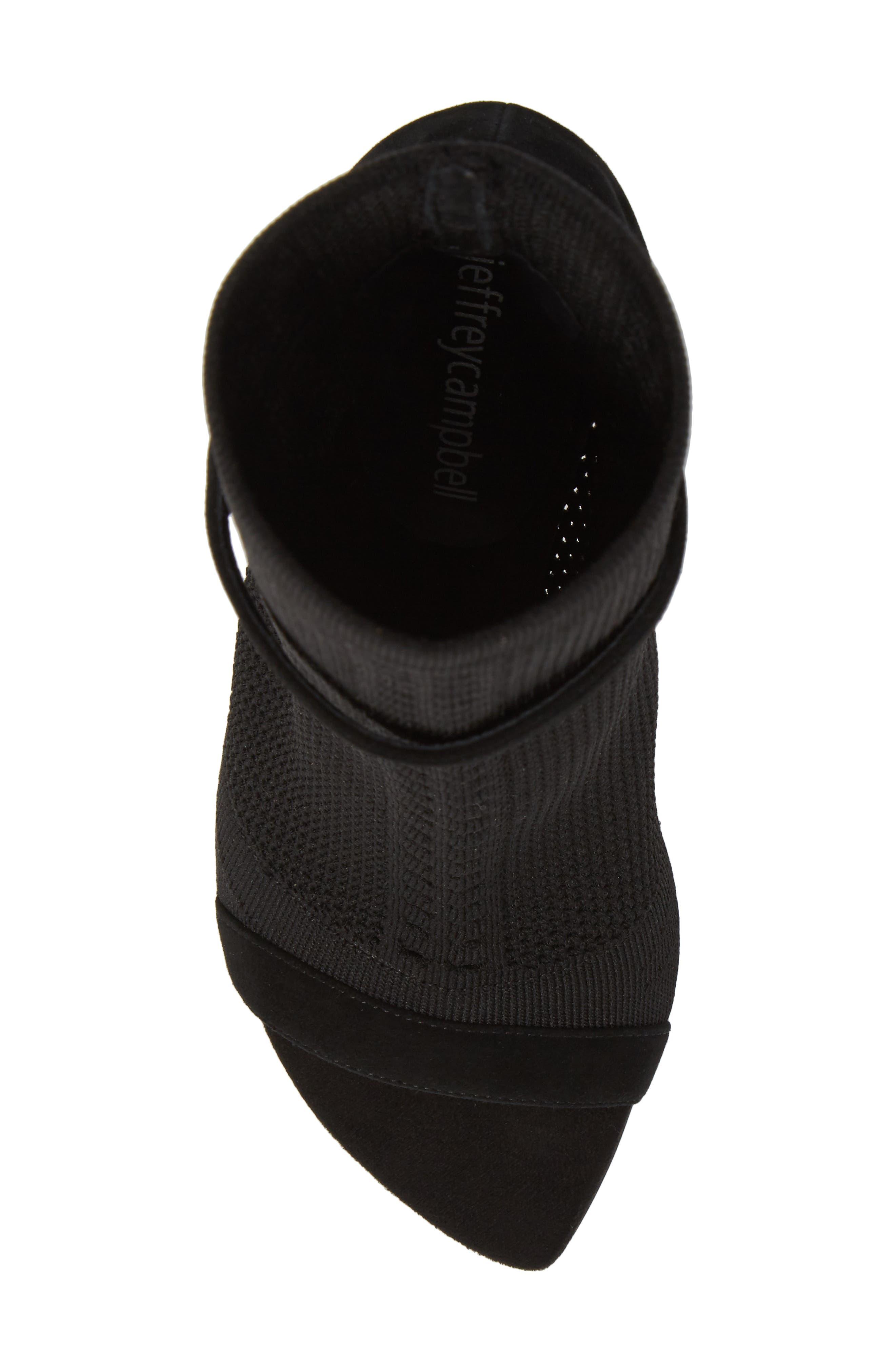 Kehlani Knit Bootie Sandal,                             Alternate thumbnail 5, color,                             BLACK SUEDE-BLACK WOVEN