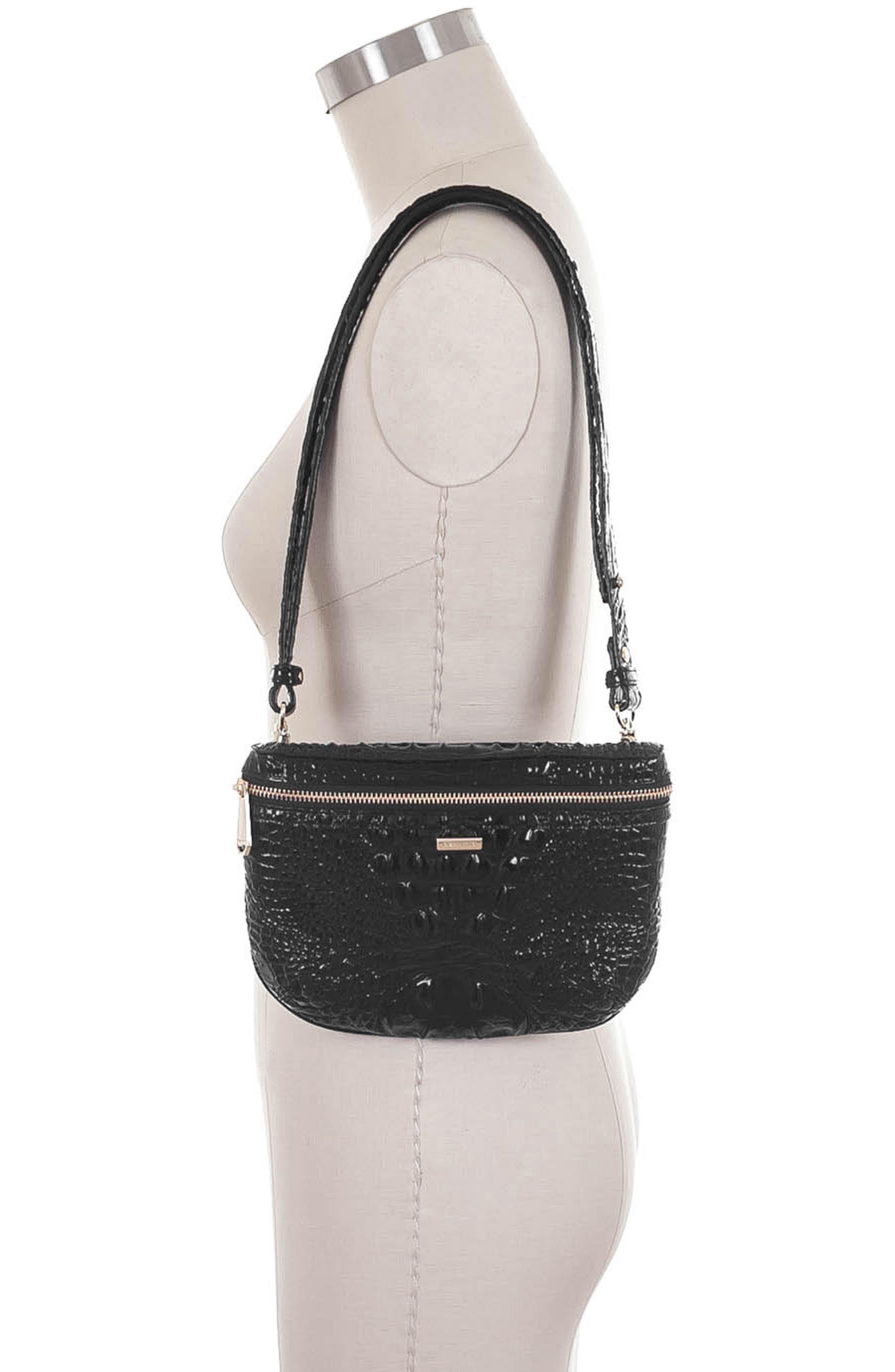 Croc Embossed Leather Belt Bag,                             Alternate thumbnail 5, color,                             BLACK