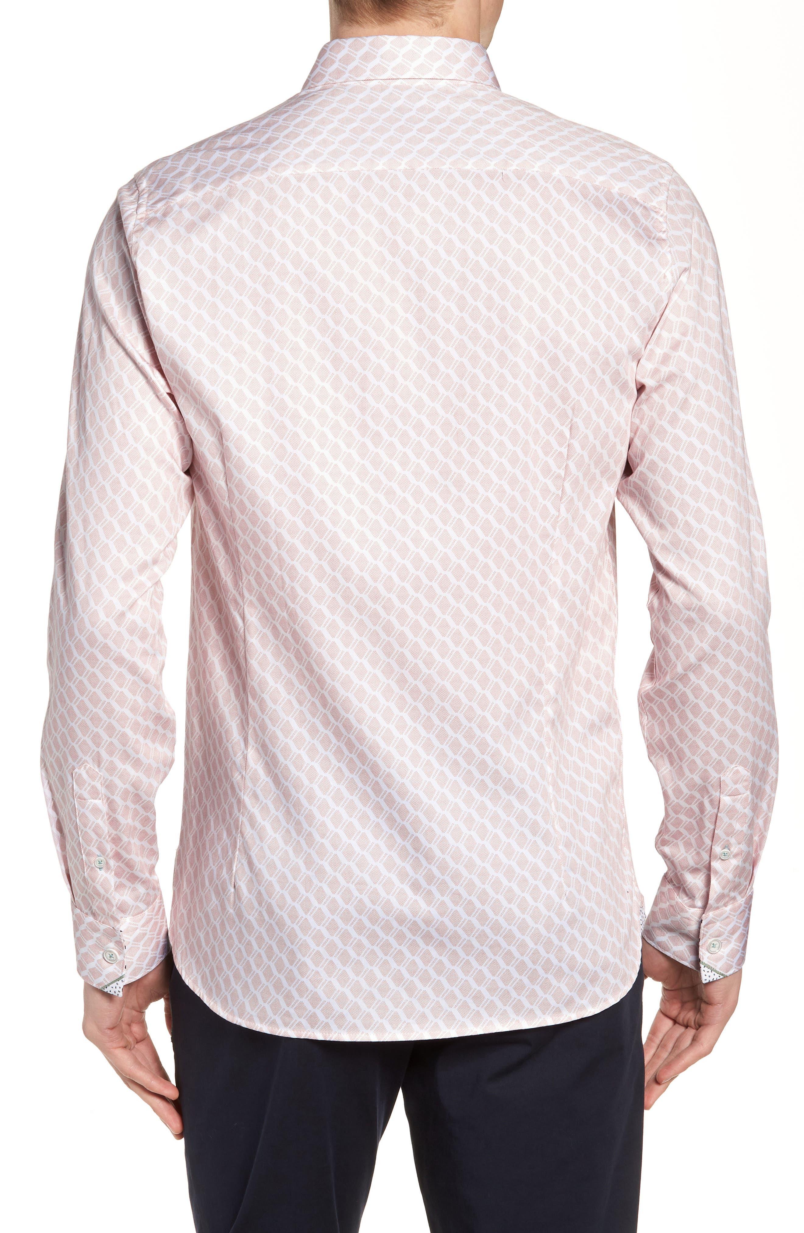 Pimlitt Geometric Pattern Sport Shirt,                             Alternate thumbnail 3, color,                             PINK