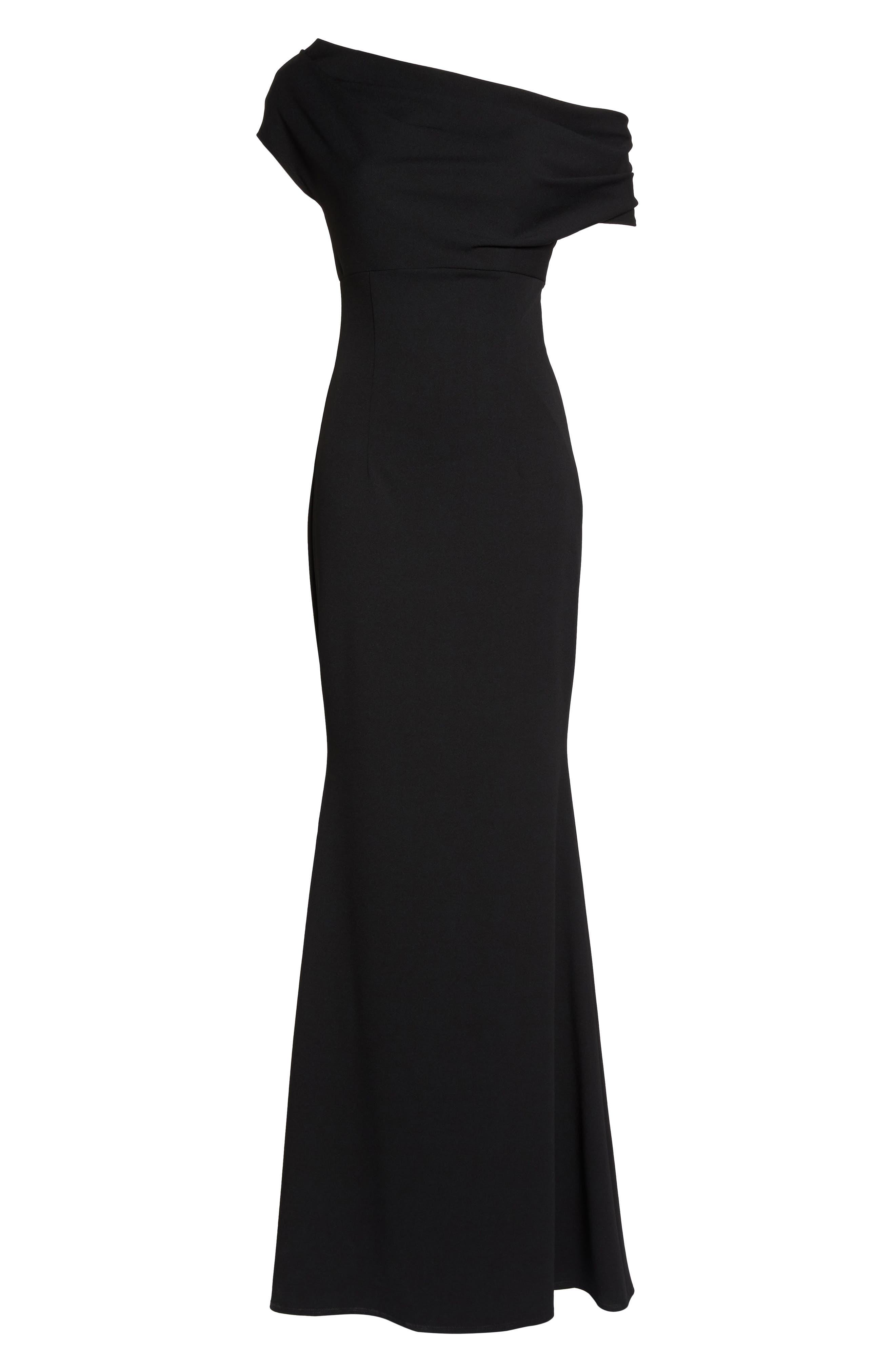 Hannah One-Shoulder Crepe Trumpet Gown,                             Alternate thumbnail 6, color,                             BLACK
