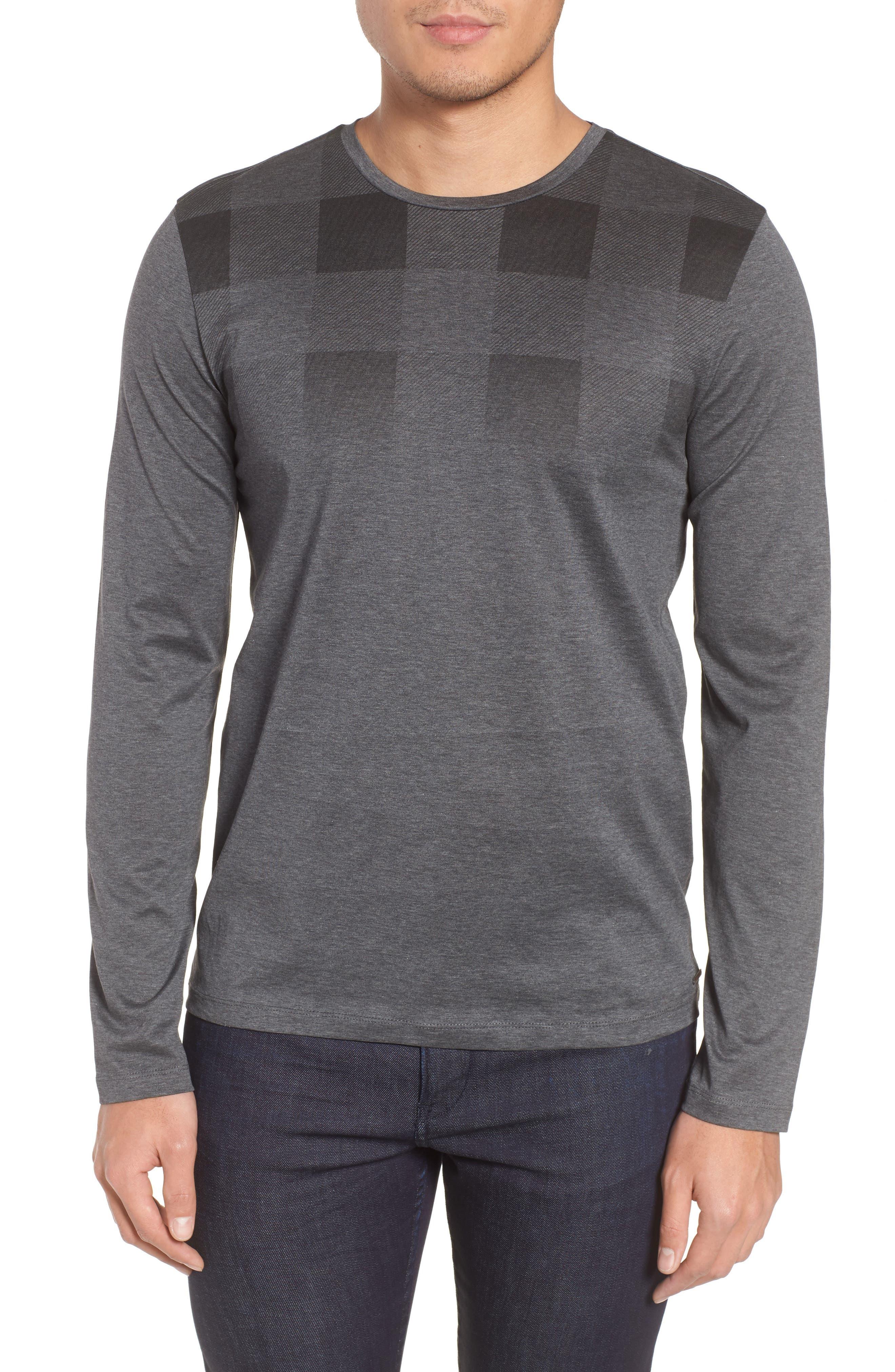 Tenison Slim Fit Ombre Check Long Sleeve T-shirt,                         Main,                         color, 030