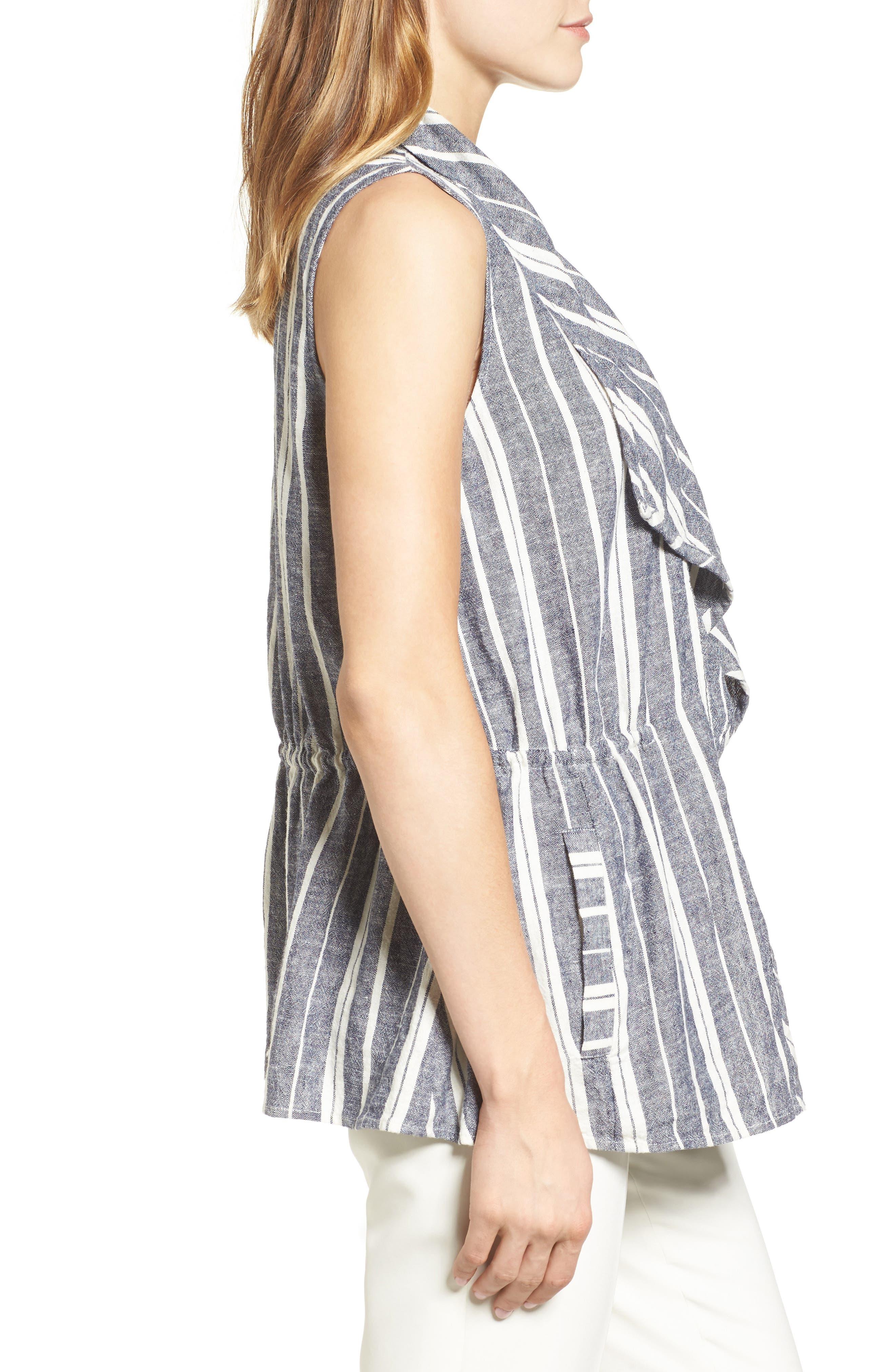 Stripe Linen Blend Vest,                             Alternate thumbnail 3, color,