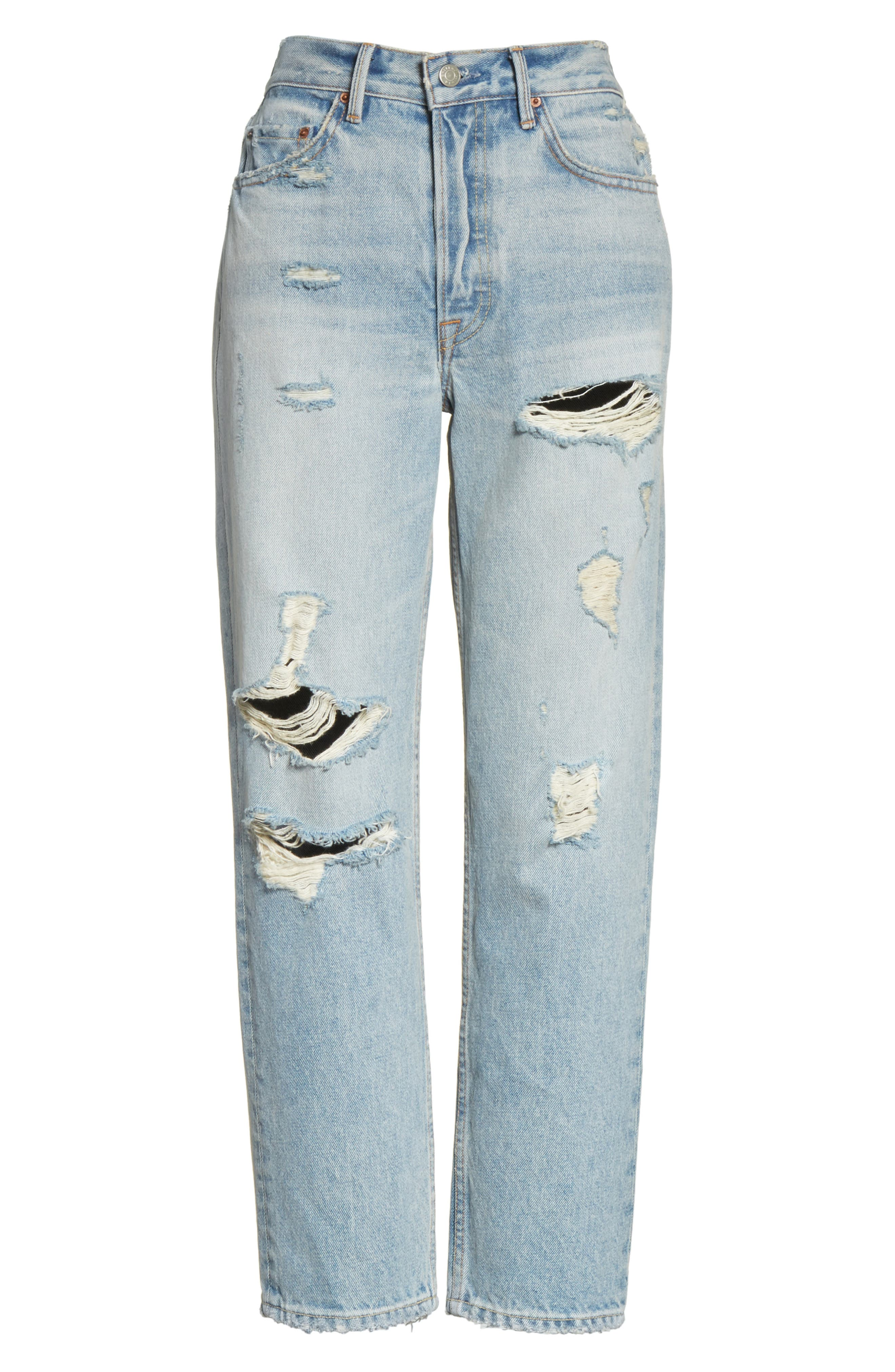 Helena Ripped Rigid High Waist Straight Jeans,                             Alternate thumbnail 6, color,                             491