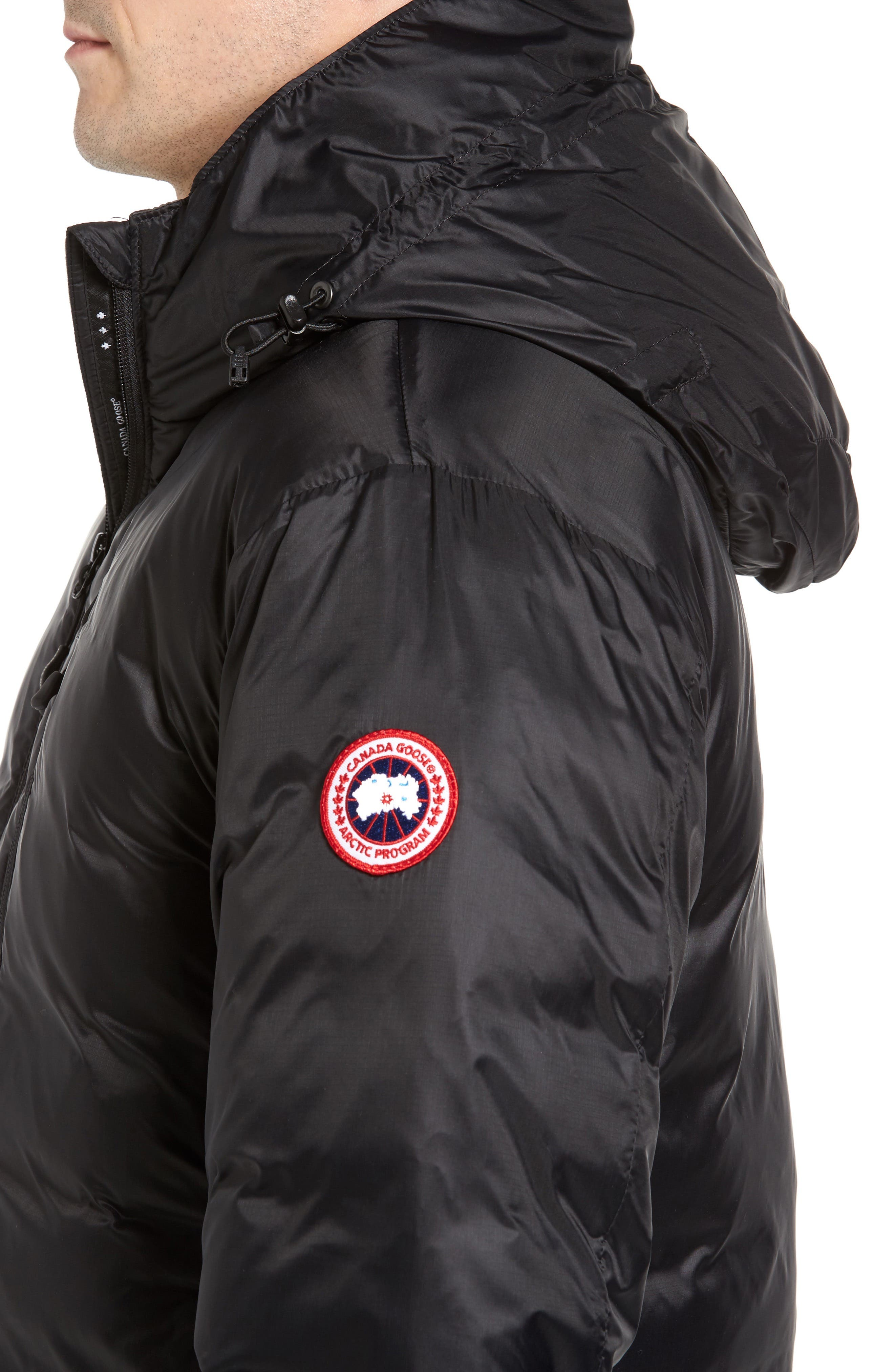 Lodge Fusion Fit Packable Down Jacket,                             Alternate thumbnail 4, color,                             BLACK/ BLACK