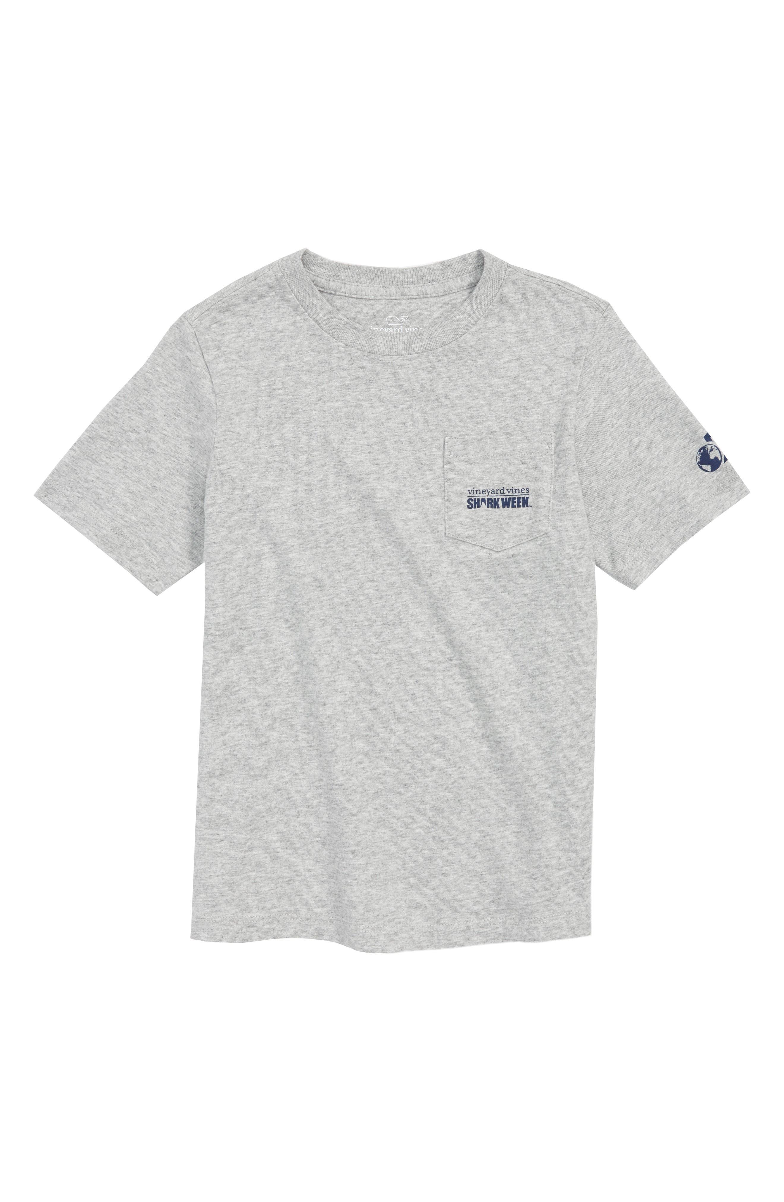 x Shark Week<sup>™</sup> Sharks & Stripes Pocket T-Shirt,                             Main thumbnail 1, color,                             GRAY HEATHER