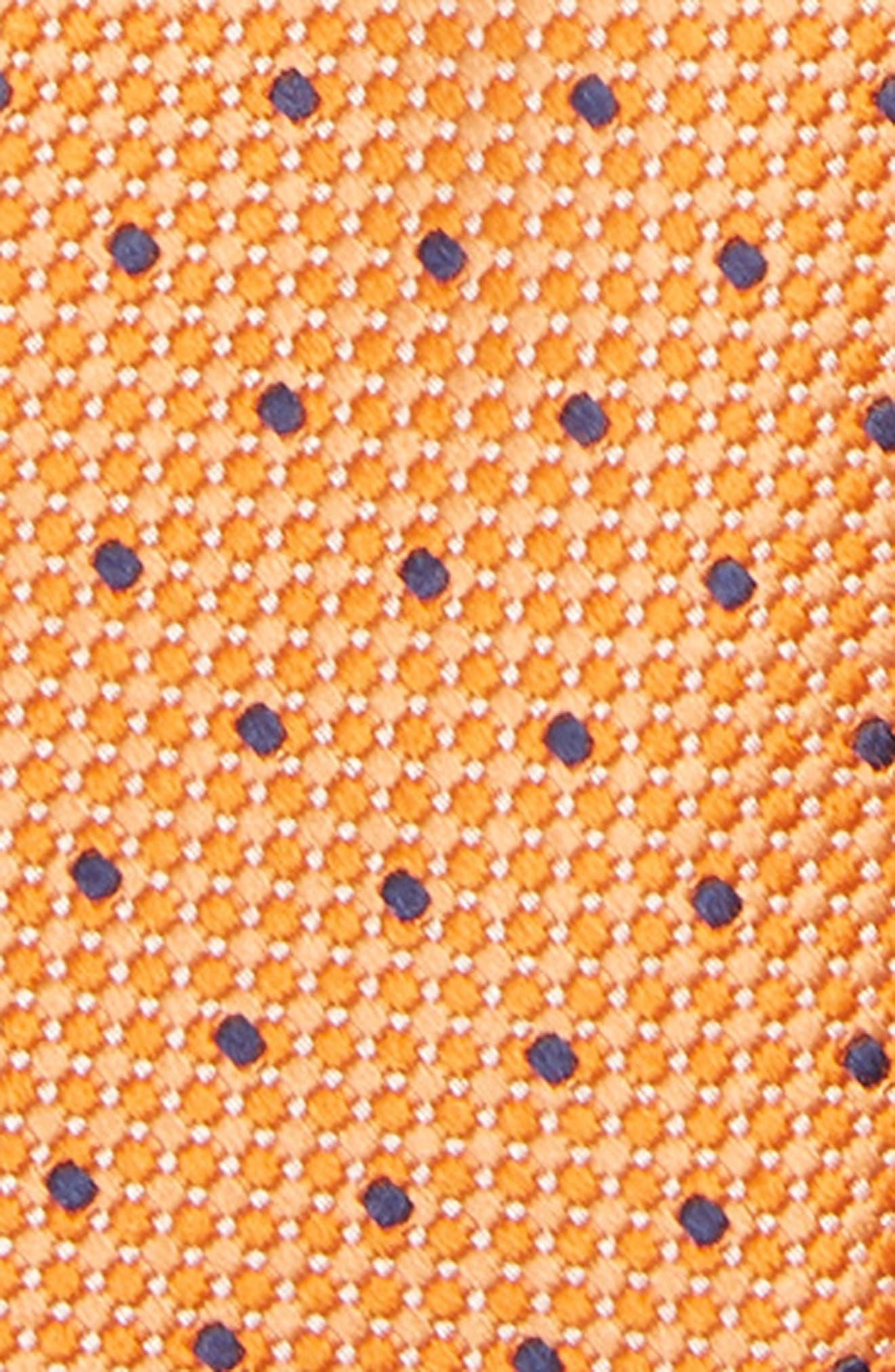 Dot Silk Zip Tie,                             Alternate thumbnail 2, color,                             ORANGE