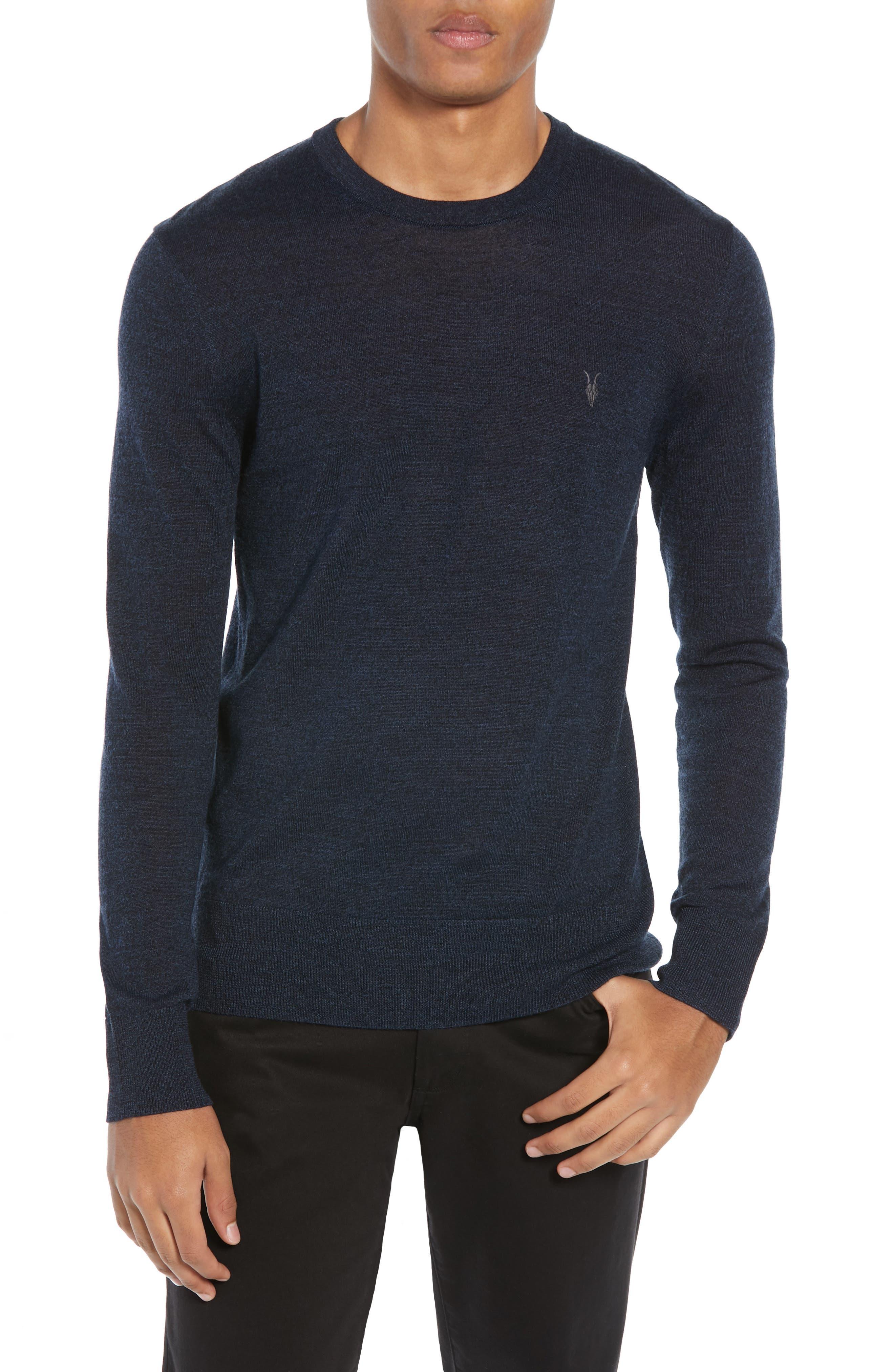 Allsaints Mode Slim Fit Merino Wool Sweater, Blue