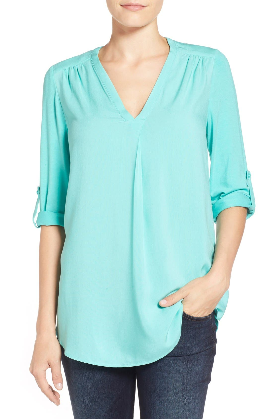 Mixed Media V-Neck Tunic,                             Main thumbnail 19, color,