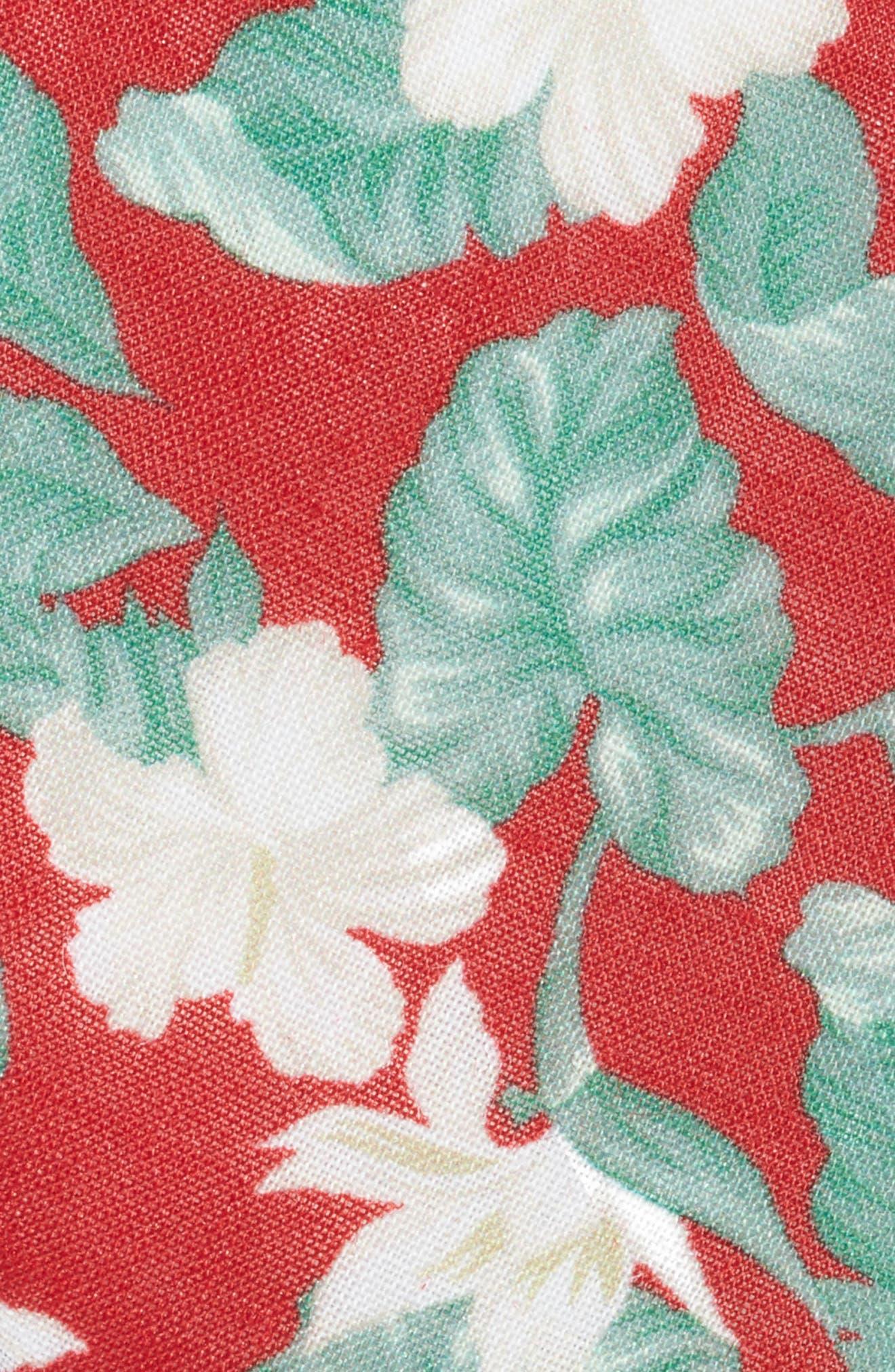 Floral Linen Tie,                             Alternate thumbnail 2, color,                             RED