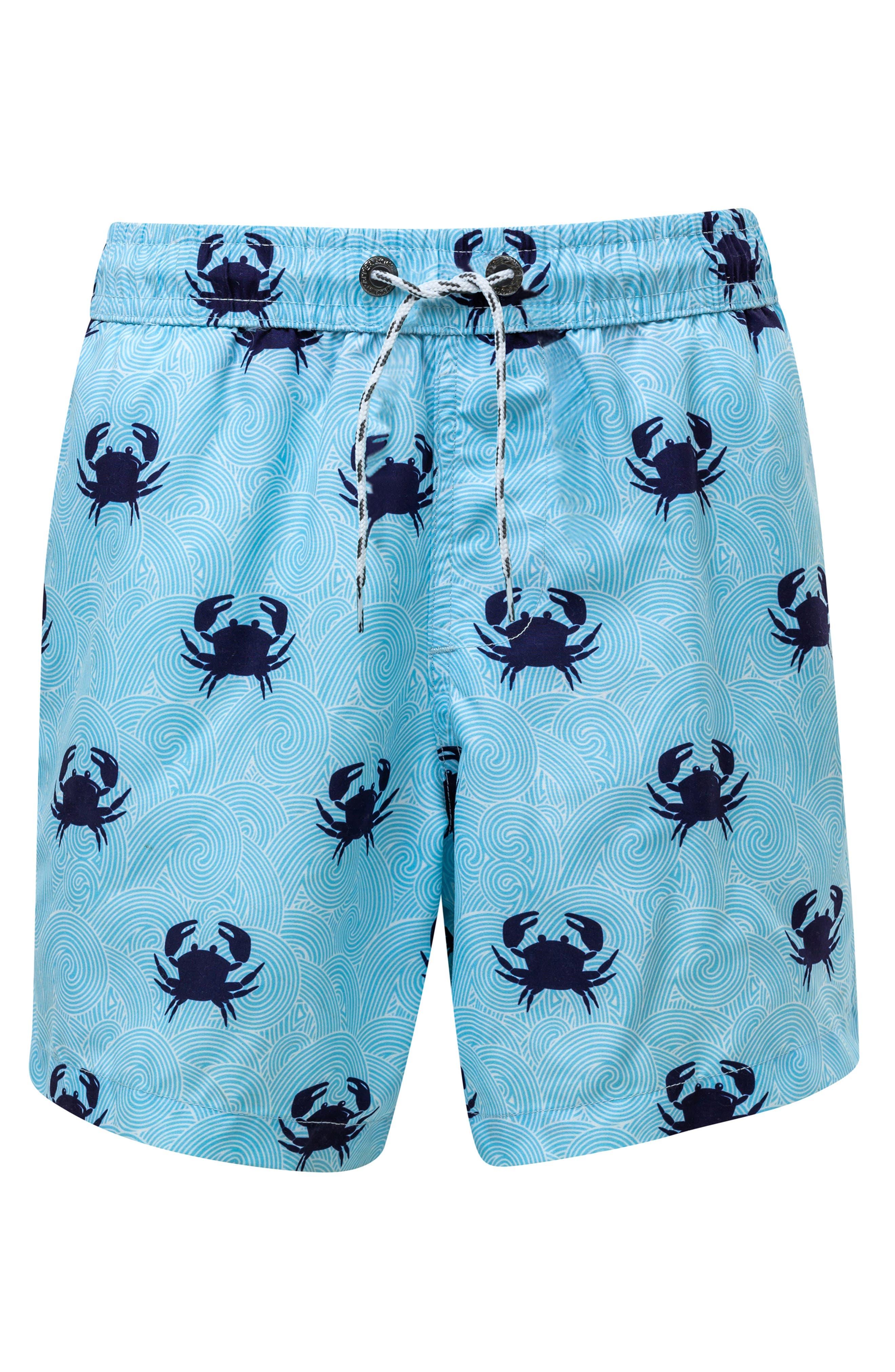 Blue Crab Swim Trunks,                             Main thumbnail 1, color,                             LIGHT PASTEL BLUE