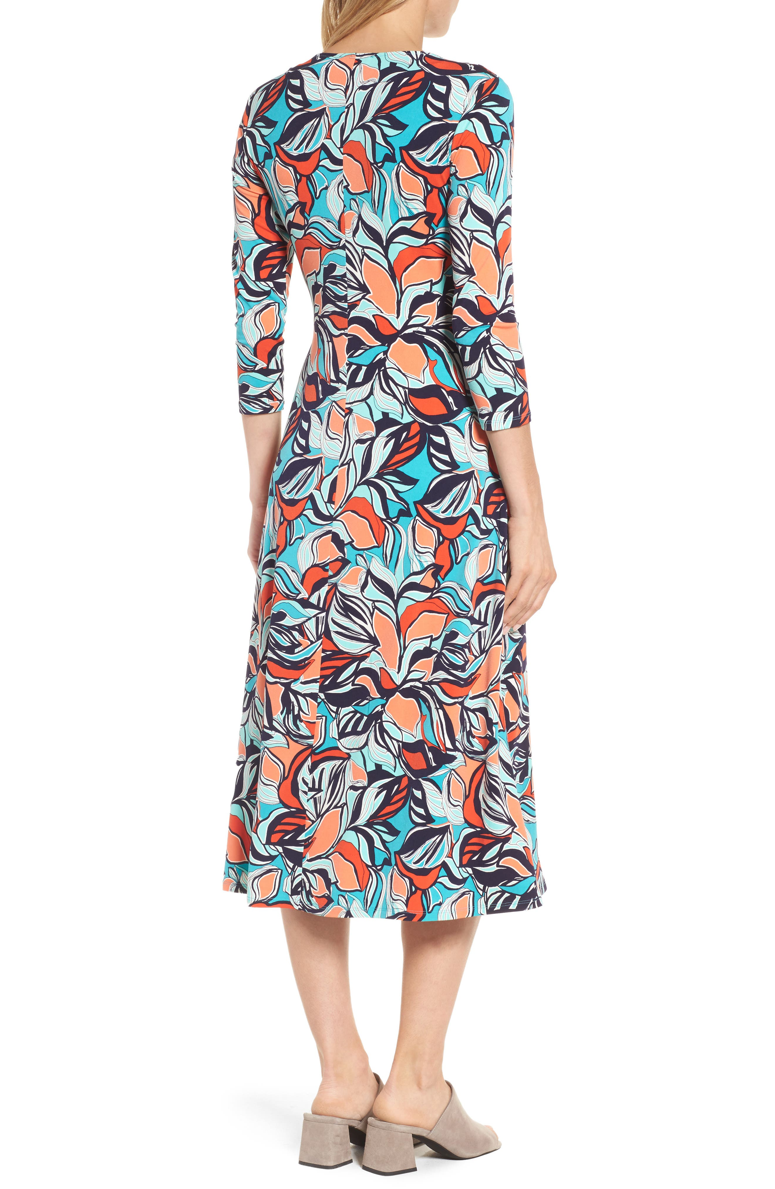 Floral Faux Wrap Midi Dress,                             Alternate thumbnail 2, color,                             336