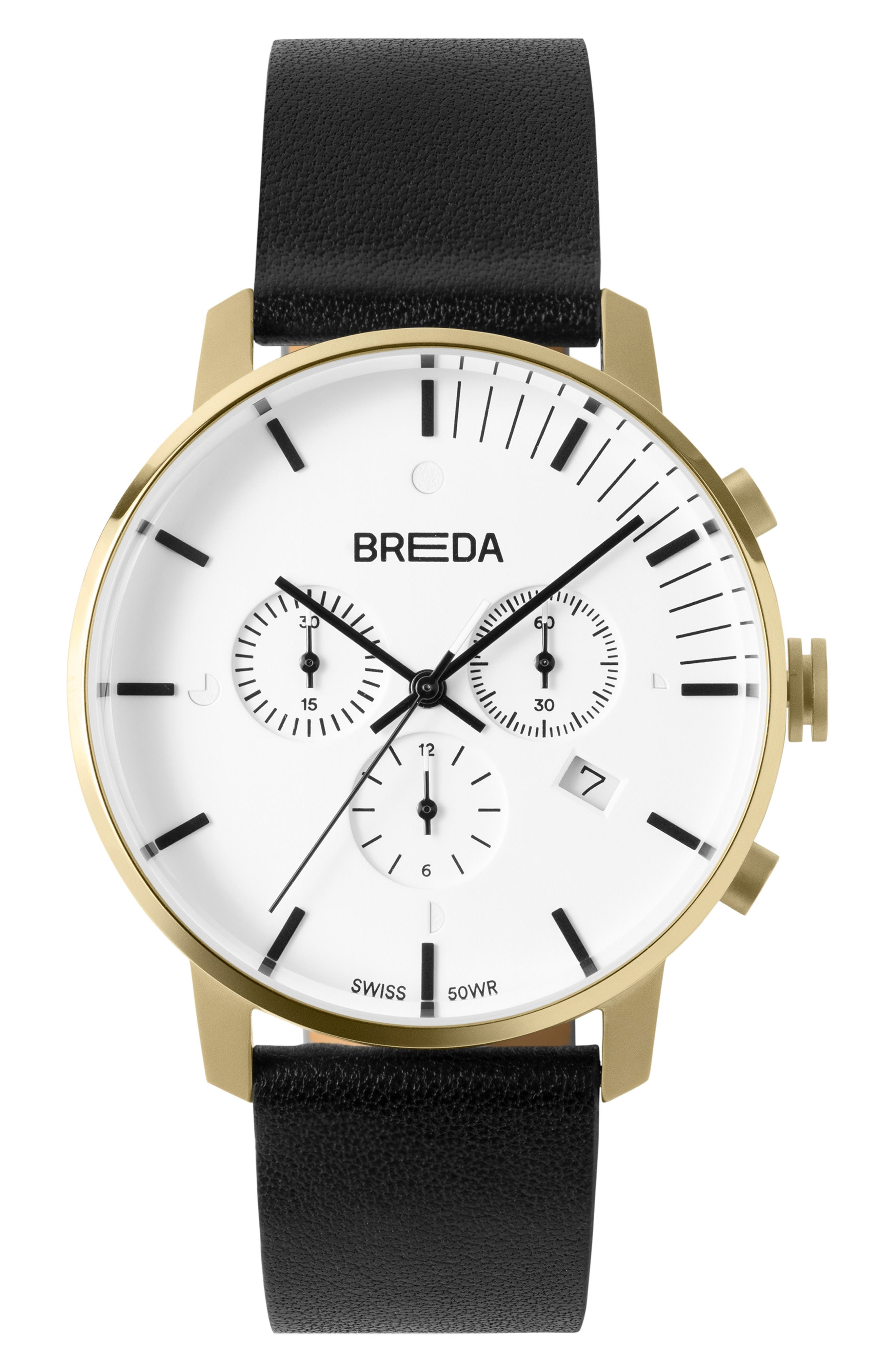 BREDA Phase Chronograph Italian Leather Strap Watch, 41mm, Main, color, BLACK/ WHITE/ GOLD